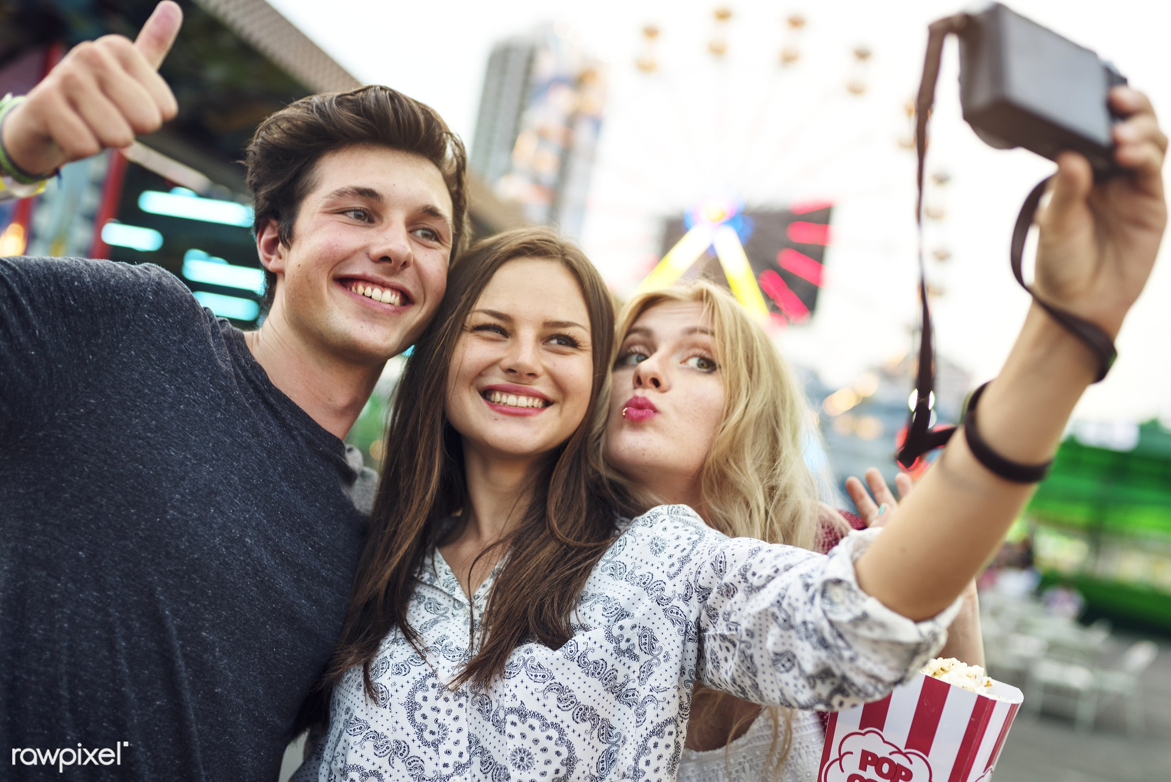 selfie, camera, youth, fun, happiness, snack, amusement park, caucasian, device, digital, eat, enjoyment, expression,...