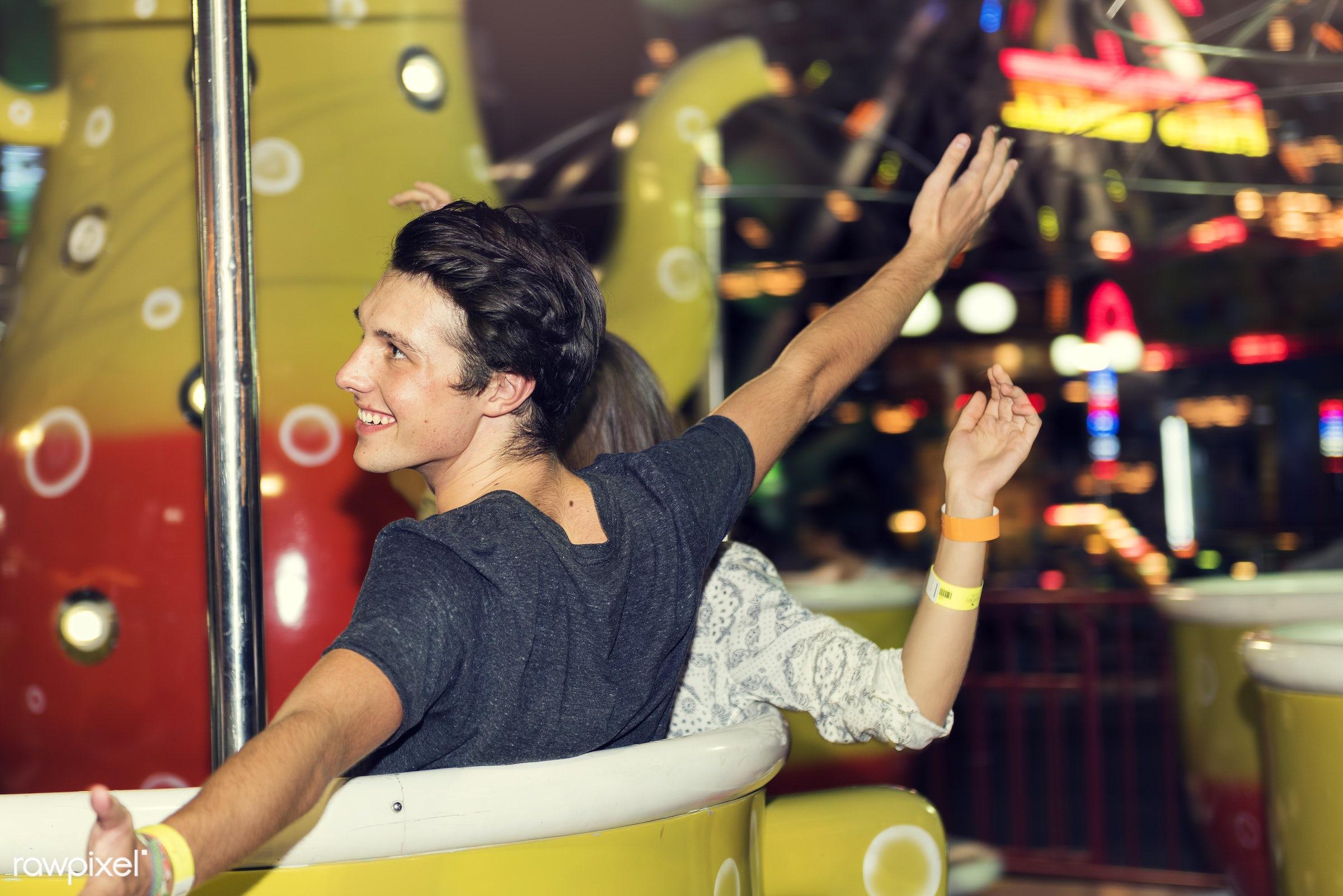 amusement park, caucasian, enjoyment, expression, feeling, friends, friendship, fun, fun park, group, happiness, man, people...
