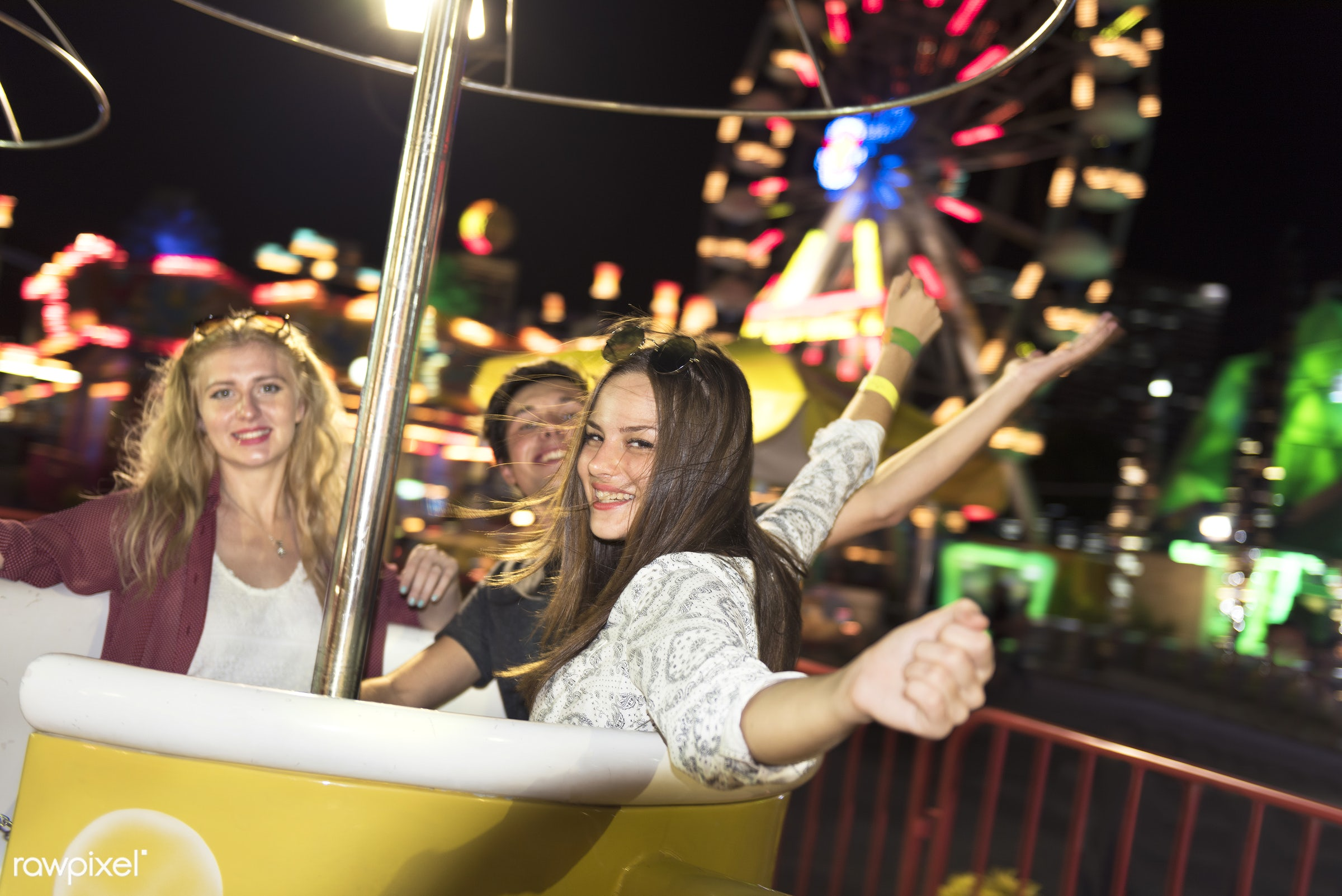 amusement park, caucasian, enjoyment, expression, feeling, friends, friendship, fun, fun park, group, happiness, man, people...