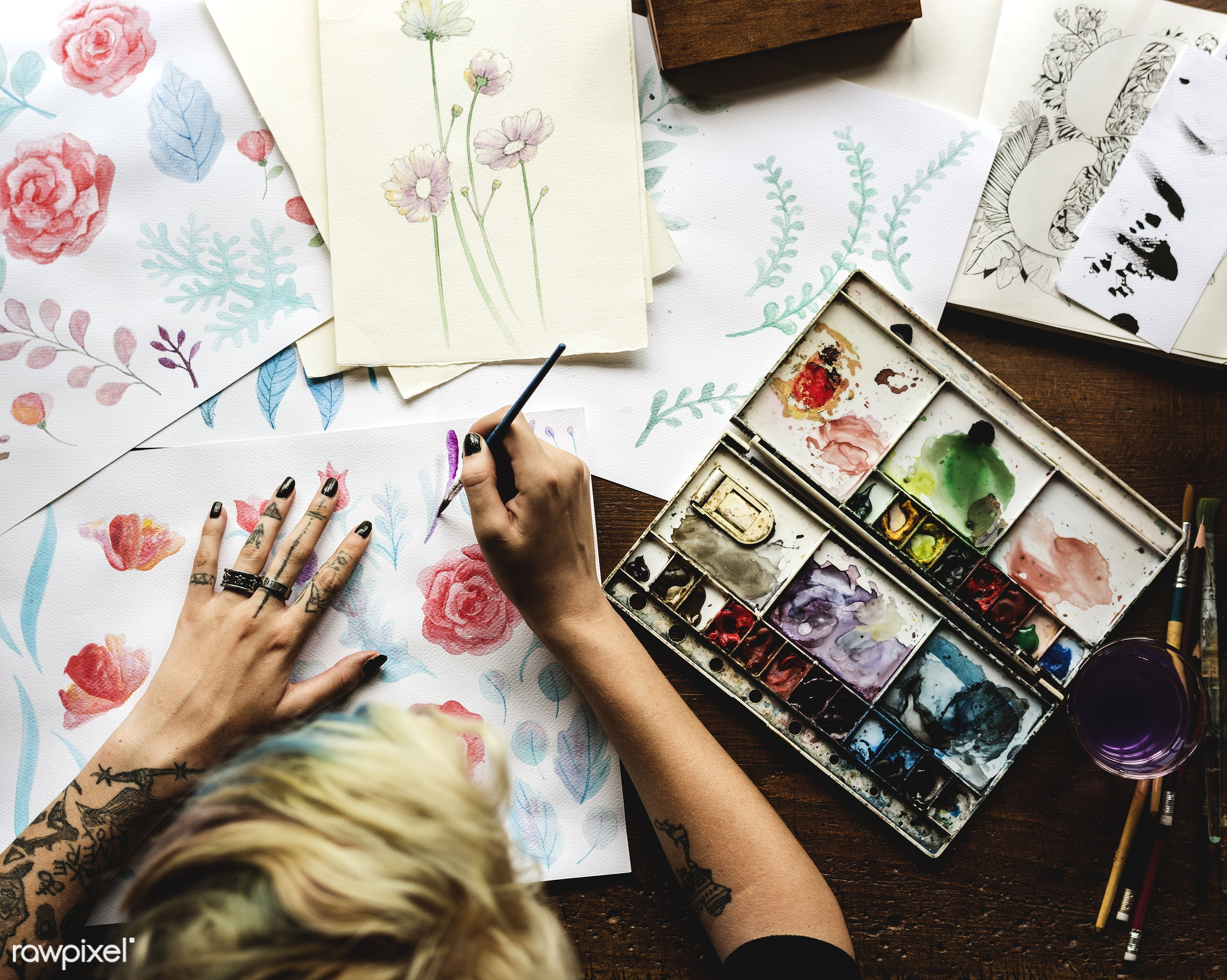 person, holding, colorful, paper, palette, creativity, people, drawing, multicolored, hands, woman, artist, tattoo, aerial...