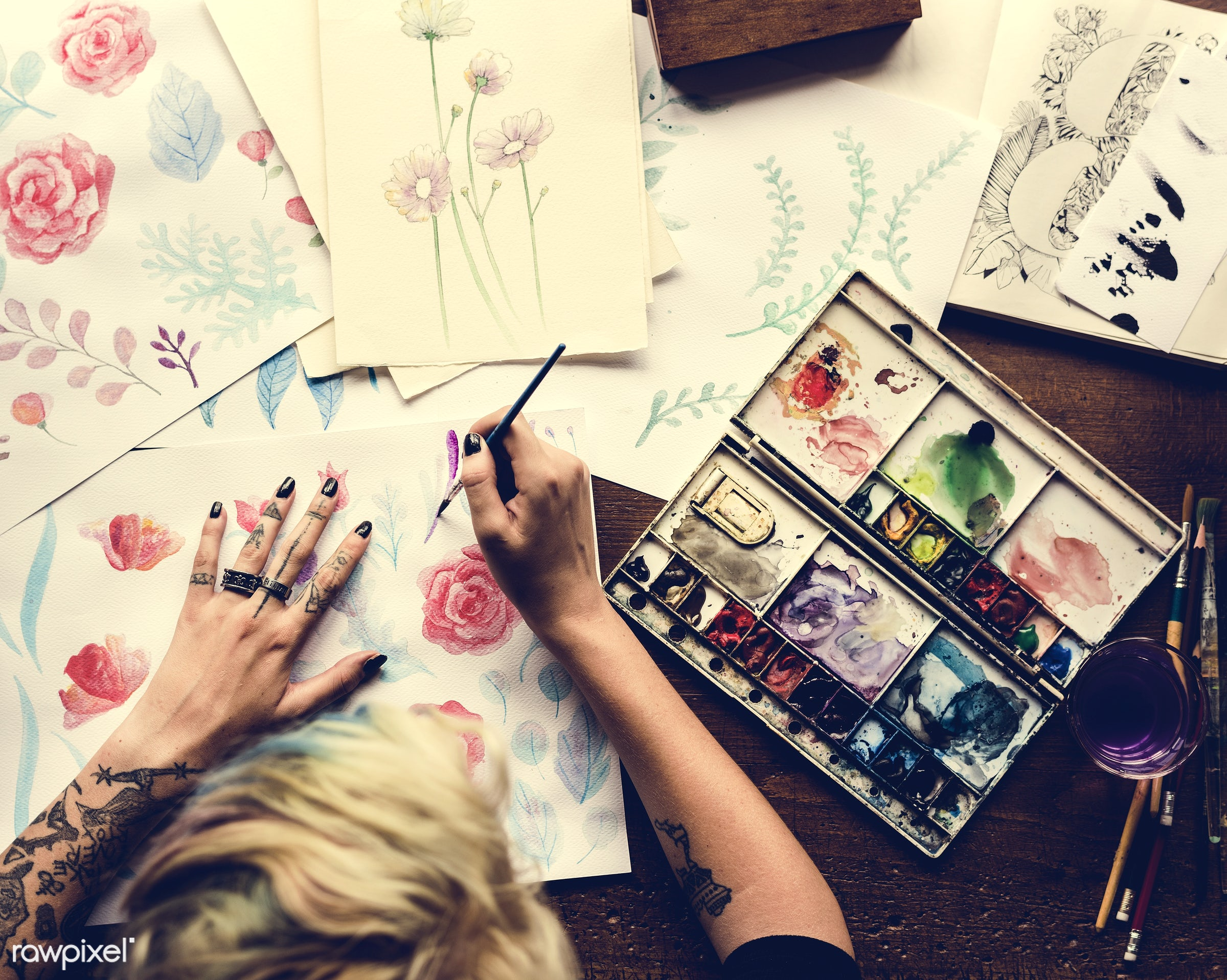activity, aerial view, art, artist, brush, color, color palette, colorful, creativity, design, drawing, flower, hands,...