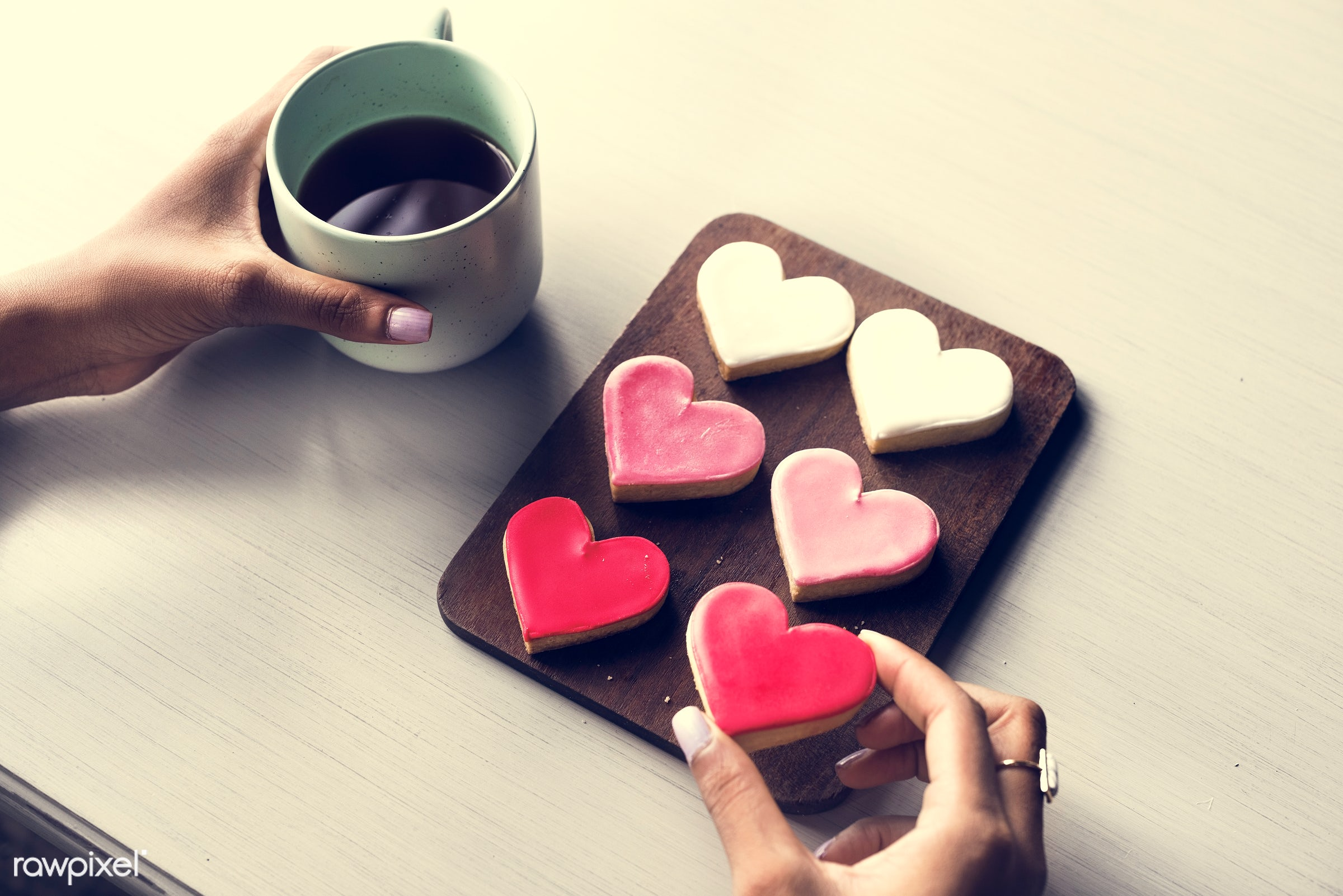 adult, bakery, beverage, break, cafe, caffeine, chill, coffee, cookies, cup, drink, flowers, hand, hands, heart, hobby, hold...