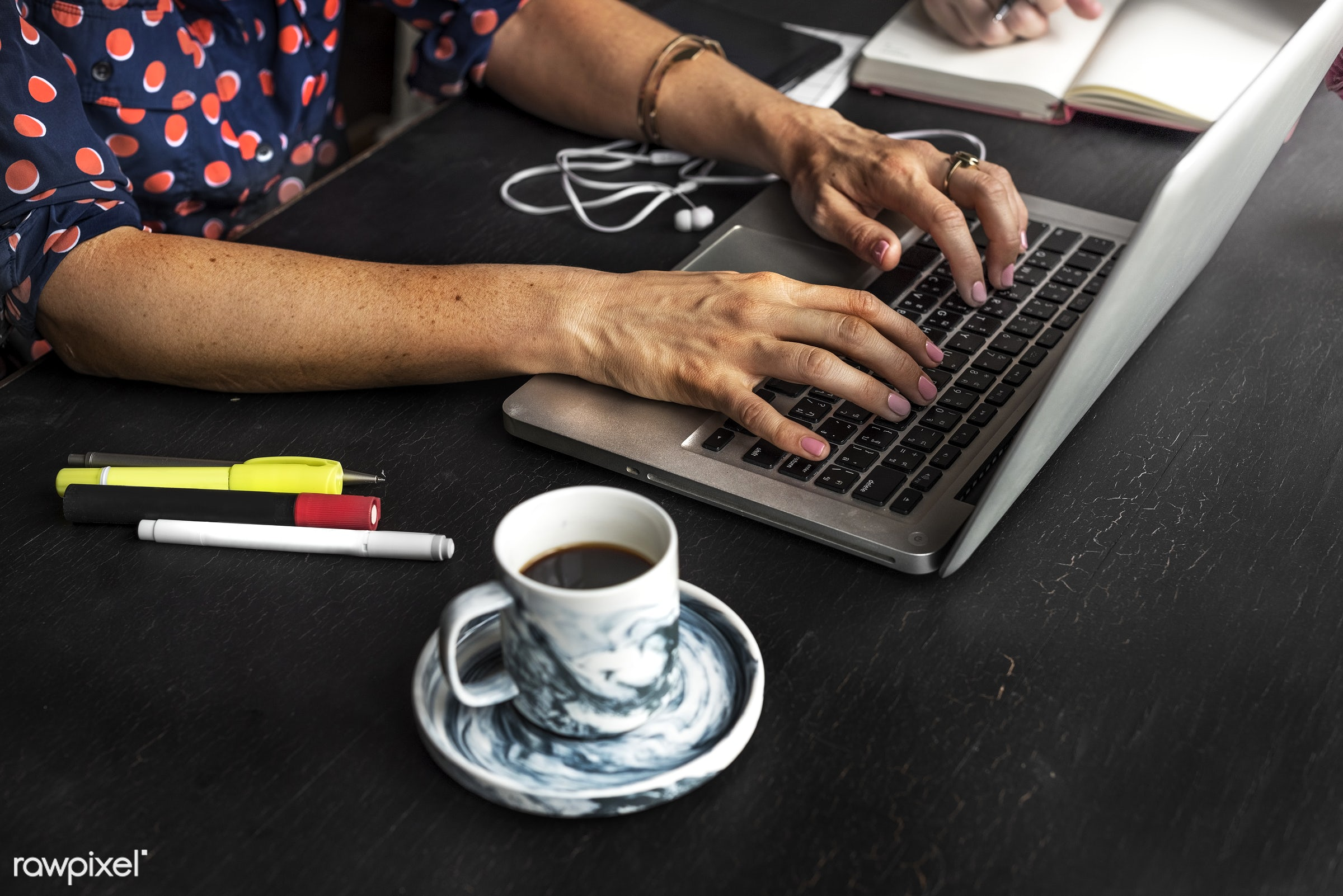 cup, person, technology, workspace, workplace, desk, type, people, pens, hands, search, woman, drink, laptop, typing,...