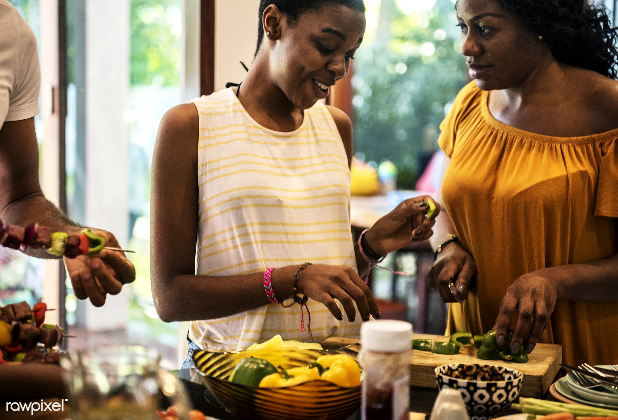 african descent, barbecue, bbq, casual, cheerful, cook, counter, diverse, enjoy, enjoyment, family, food, fruits, fun, group...
