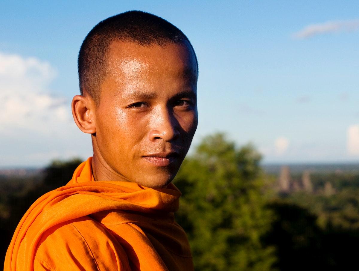 Portrait of a monk at Angkor Wat