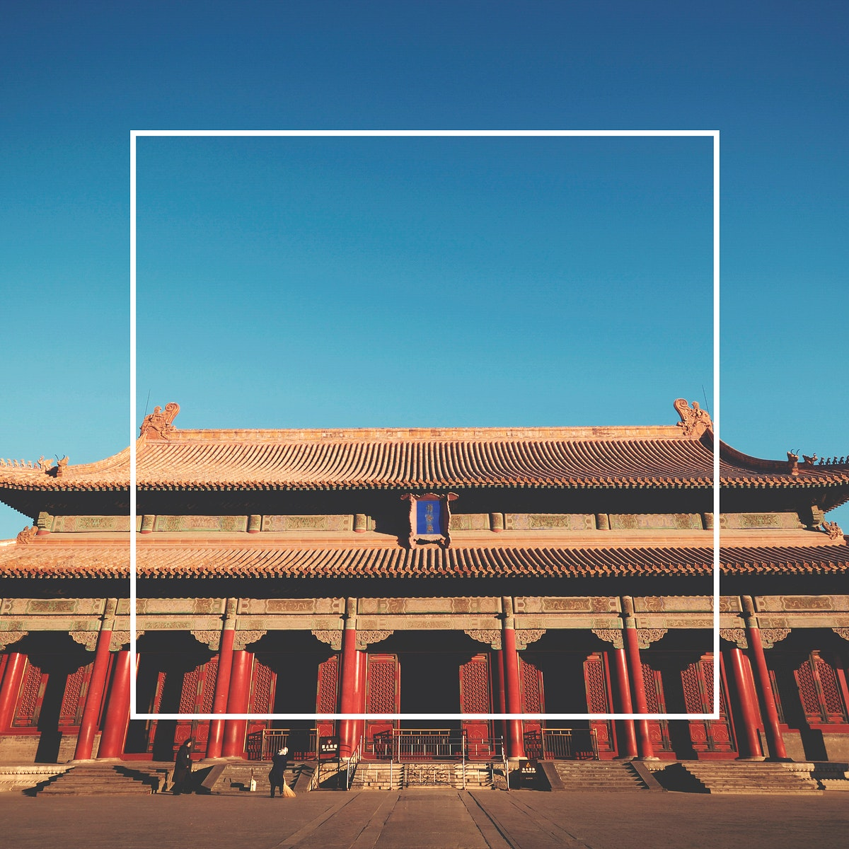 Square banner frame on chinese ancient architecture building design background