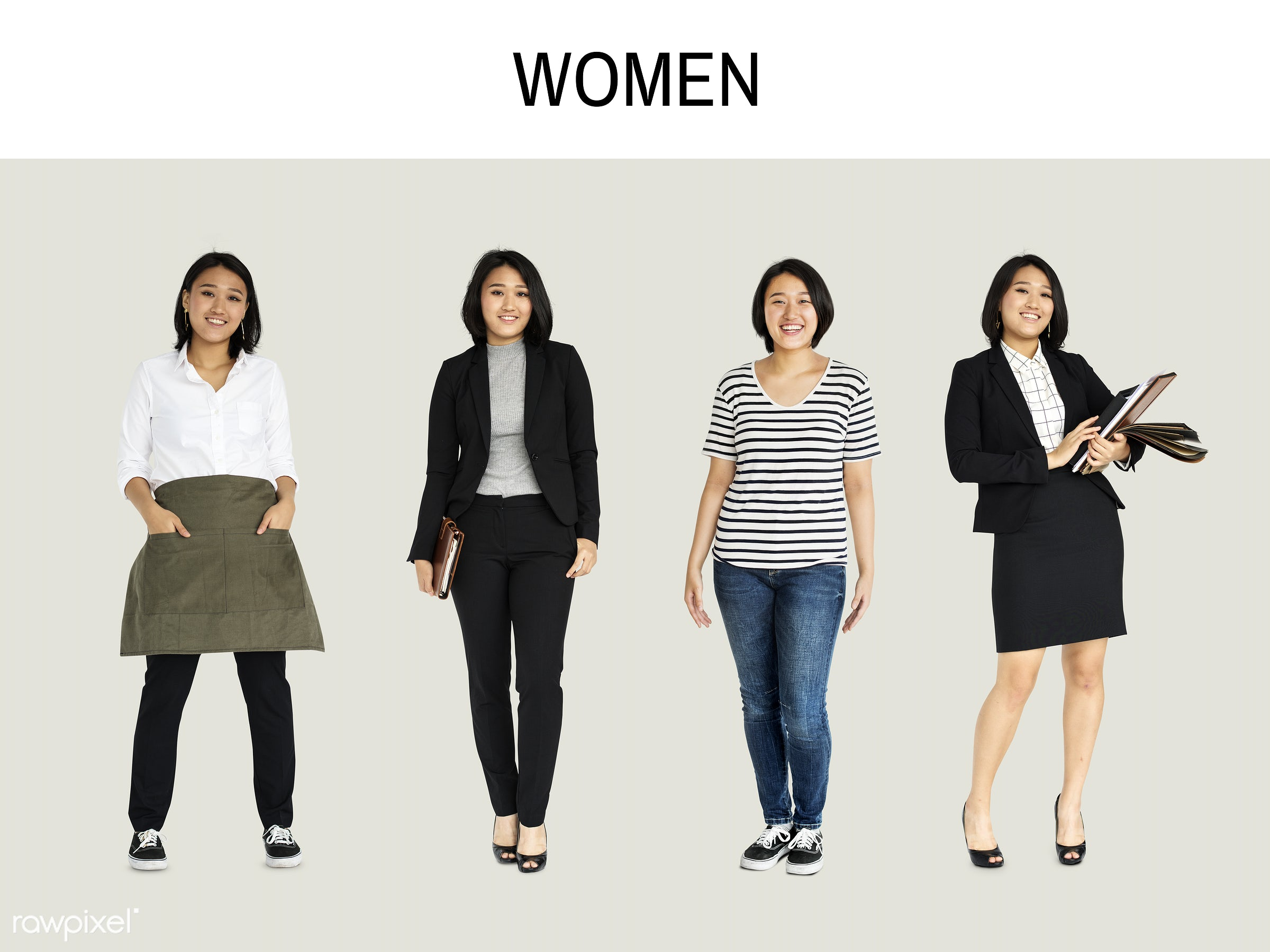Diverse people set - studio, fashion, person, merchandise, diverse, set, isolated on white, collection, pretty, race, people...