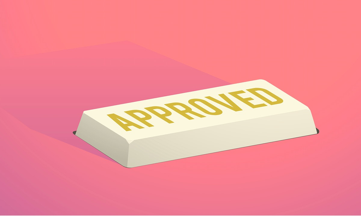 Approved yellow button on red background graphic illustration