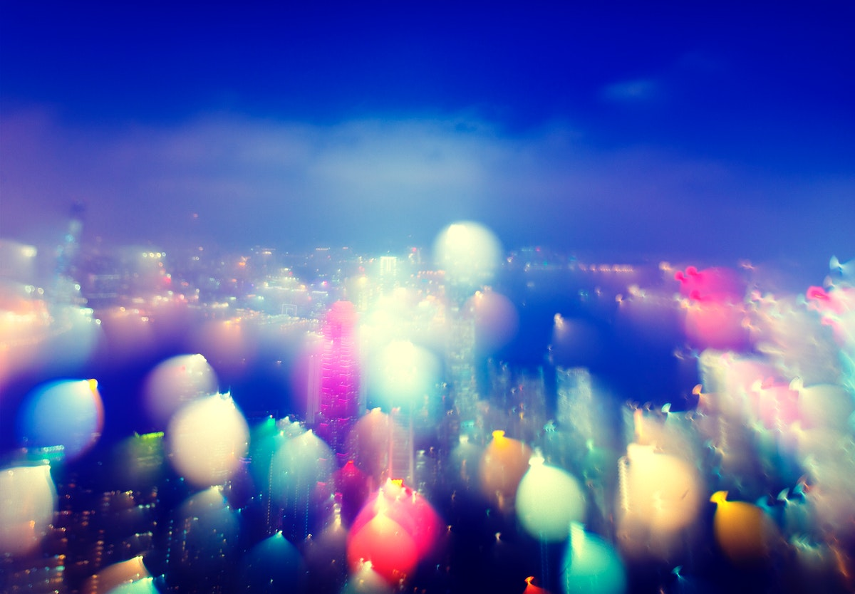 Colorful blurred lights bokeh of city building scenic