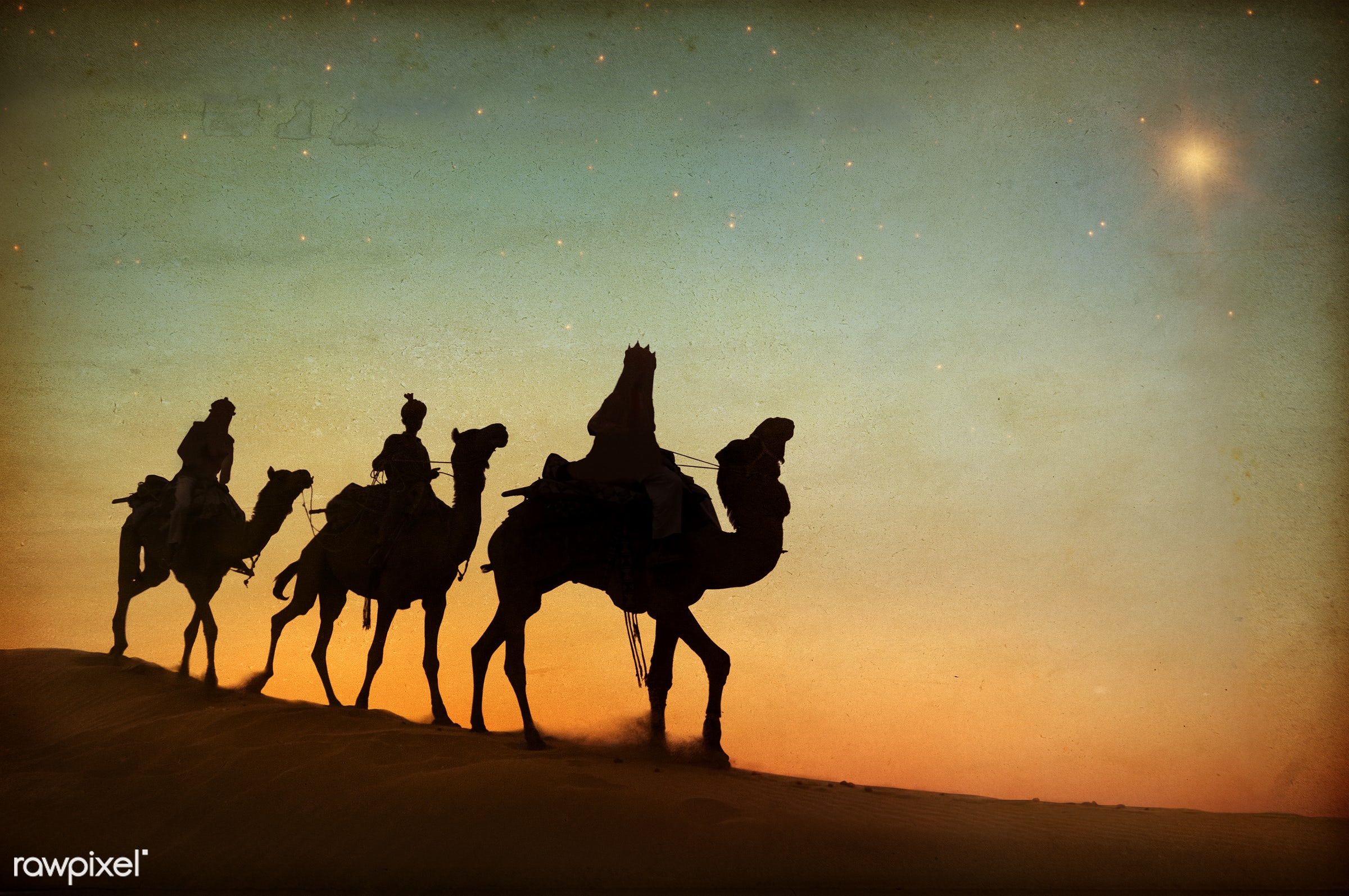 The three kings following the star. - exoticism, 3 kings, animal themes, asia, birth, camel, concepts and ideas, culture,...