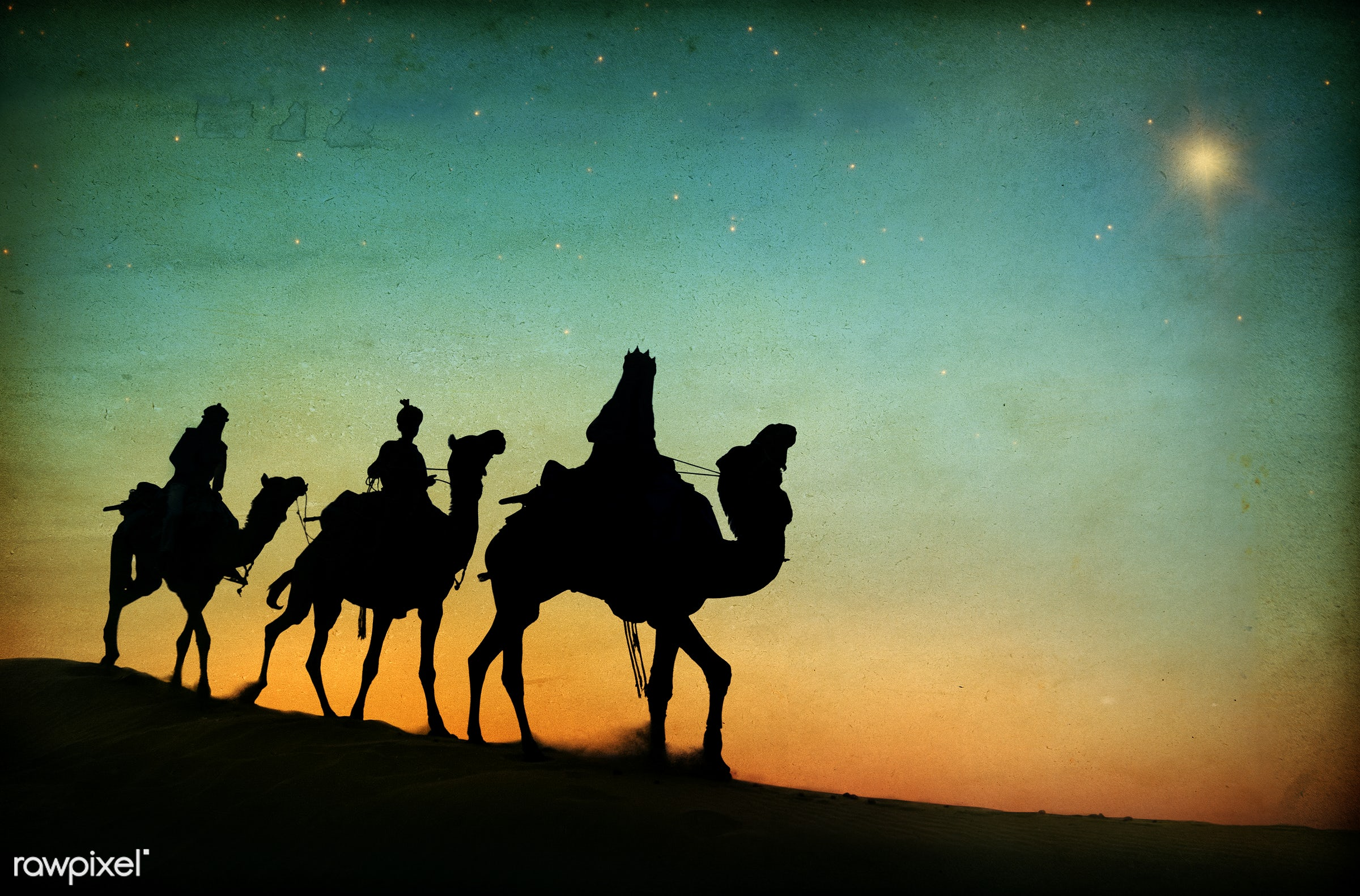 The three kings following the star. - 3 kings, birth, camel, christmas, concepts and ideas, culture, desert, dusk, evening,...
