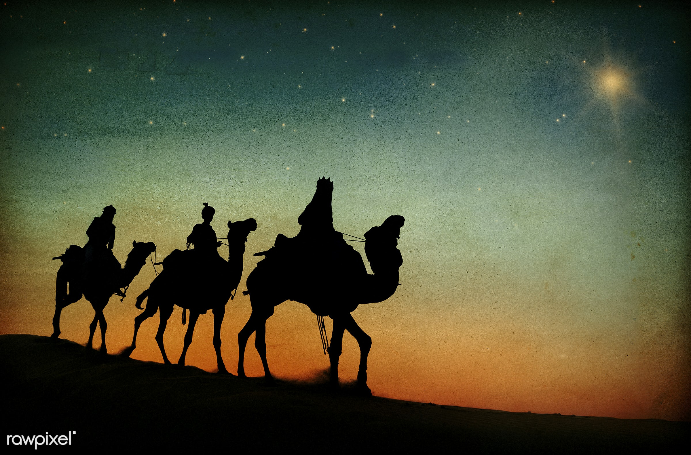 Three wise kings following the star - nativity, travel, star, dusk, desert, 3 kings, birth, camel, christmas, concepts and...