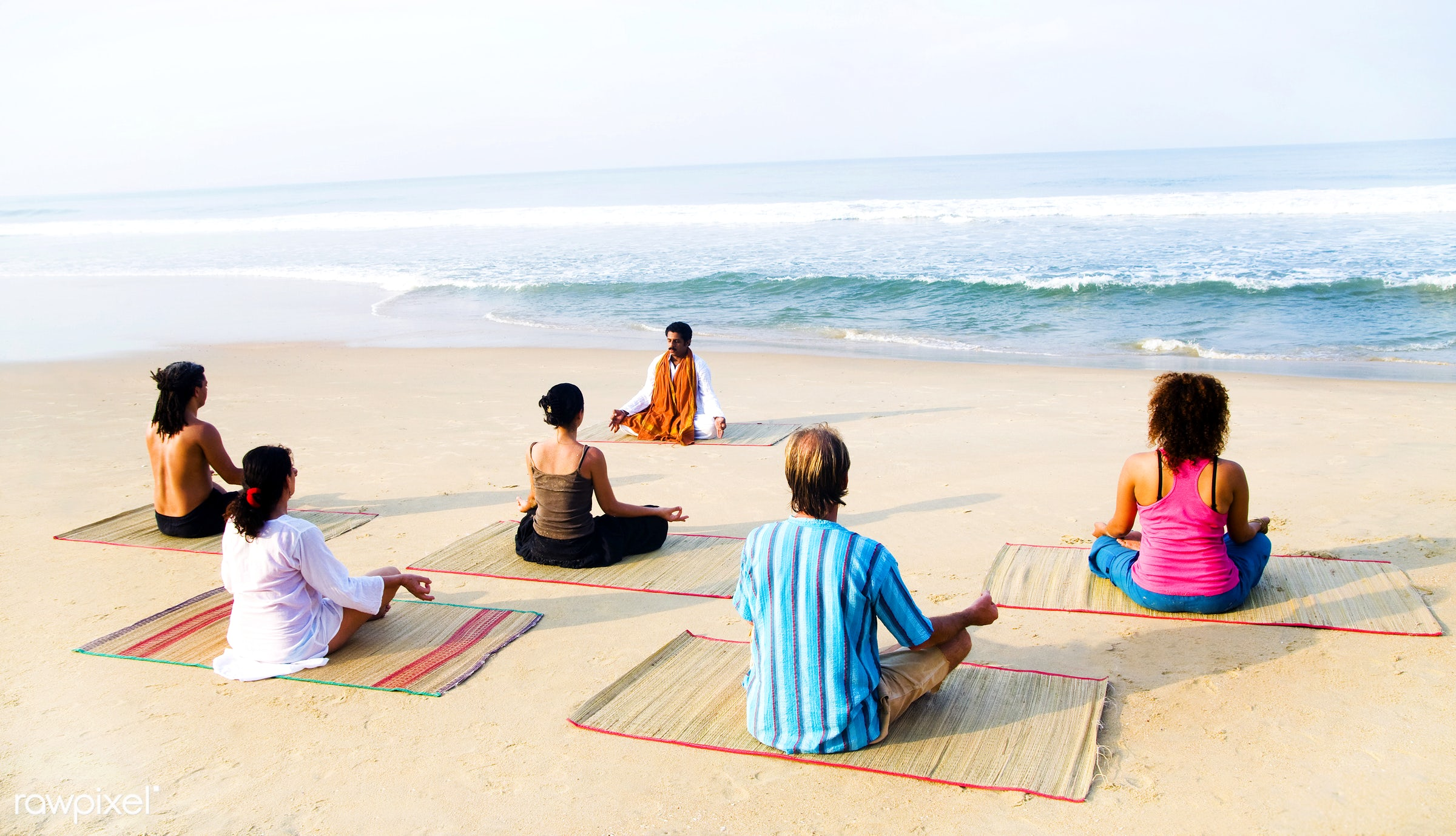 Healthy yoga class on the beach - activity, adult, beach, beauty in nature, body, body care, casual, class, coastline,...