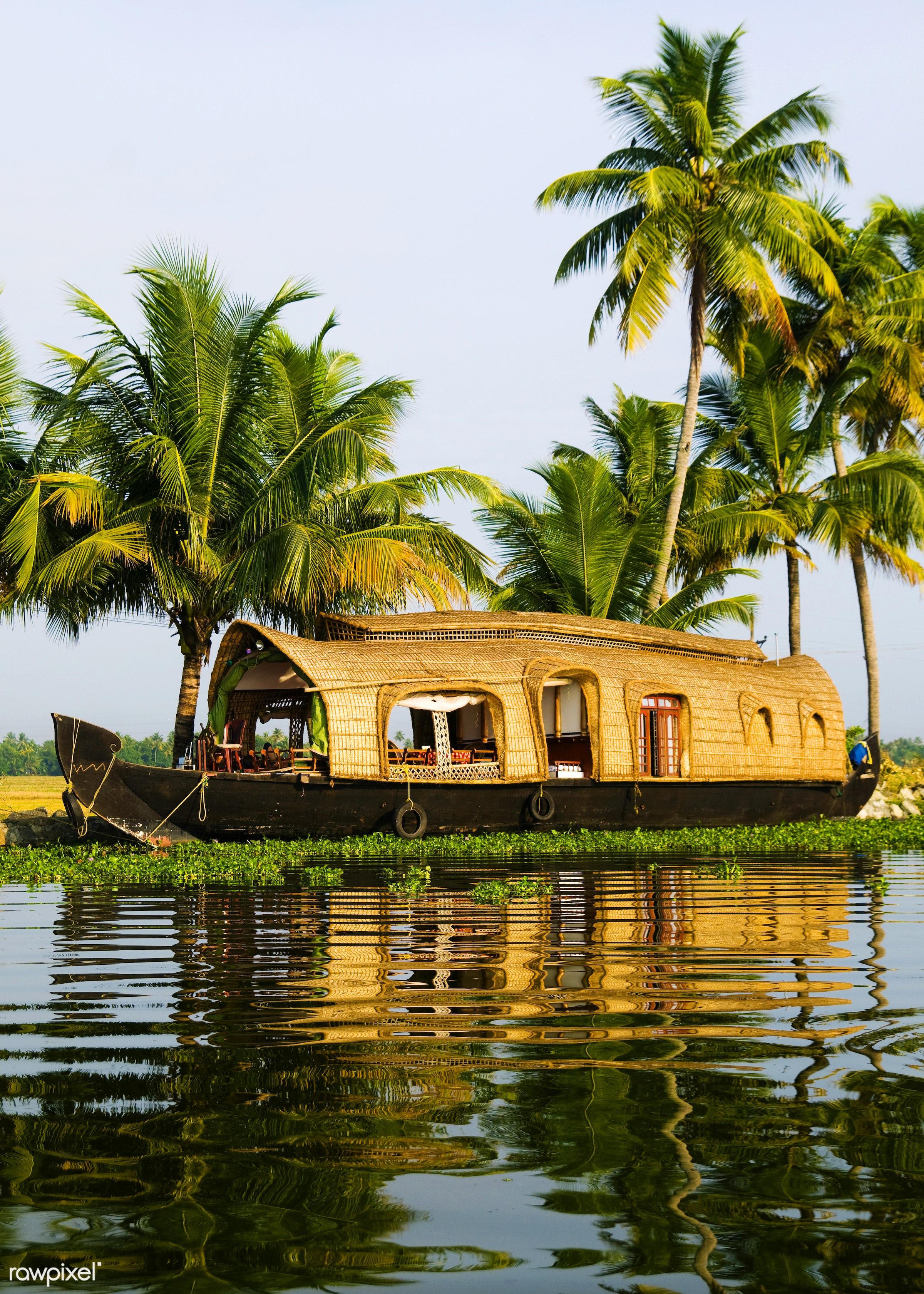 Houseboat on Kerala backwaters, Kerala, India - houseboat, travel, asia, backwater, canal, coconut palm tree, cruise ship,...