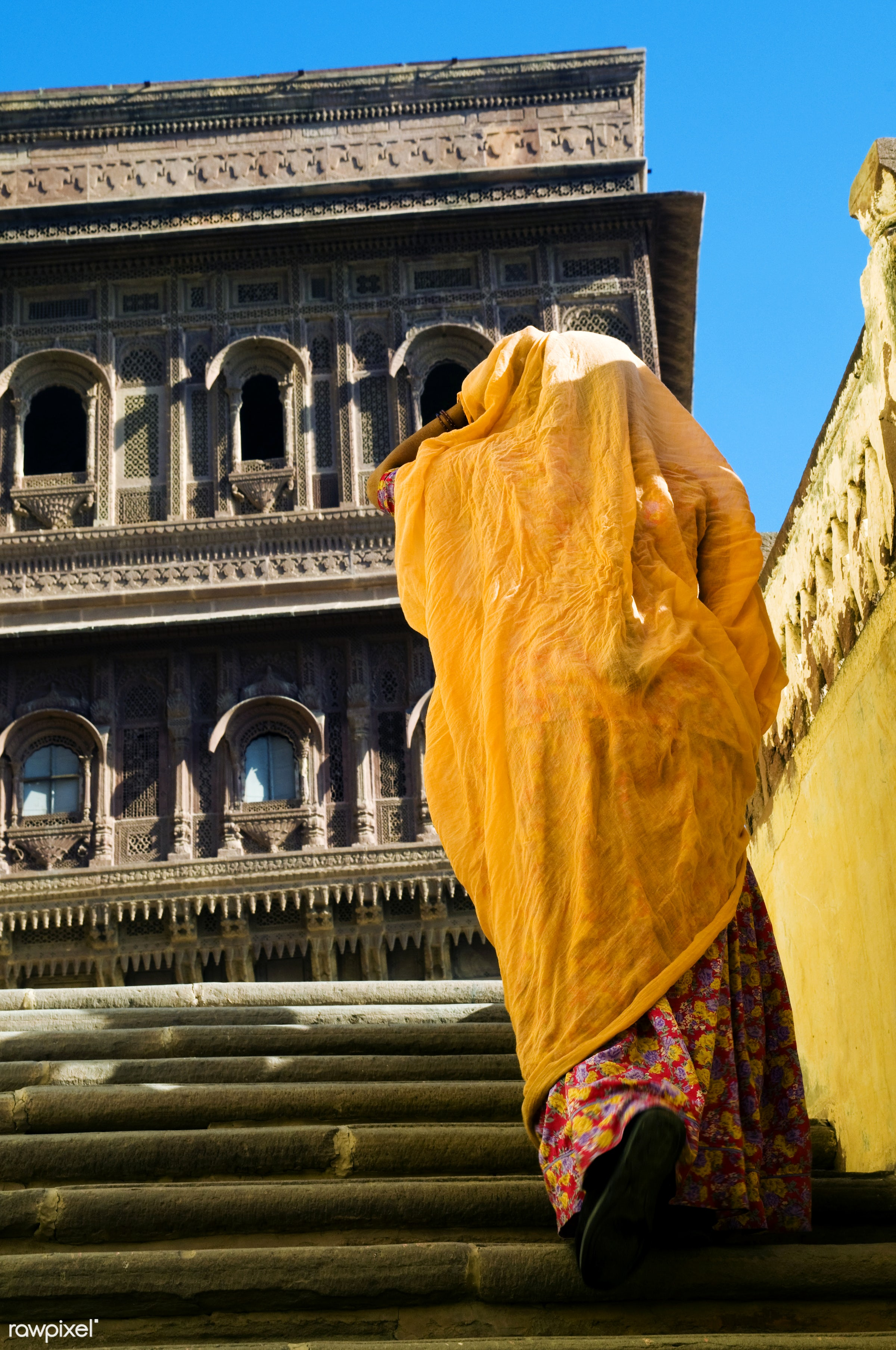 Indian woman in Mehrangarh Fort, Rajasthan, India - lifestyles, ancient, architecture, architecture and buildings, asian and...