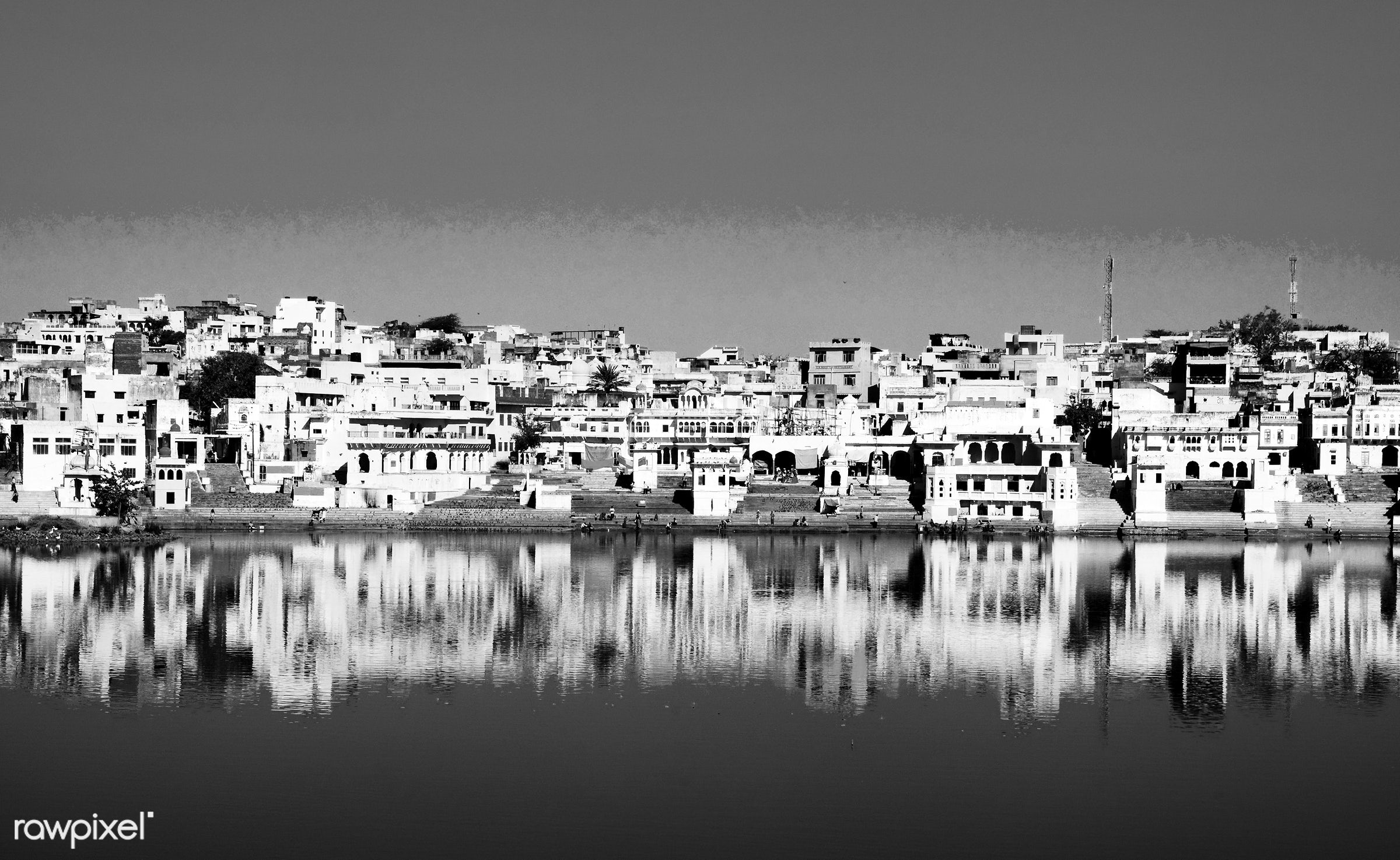 The holy Brahman town and lake in the early morning, Pushkar, Rajasthan, India. - ancient, architecture, architecture and...