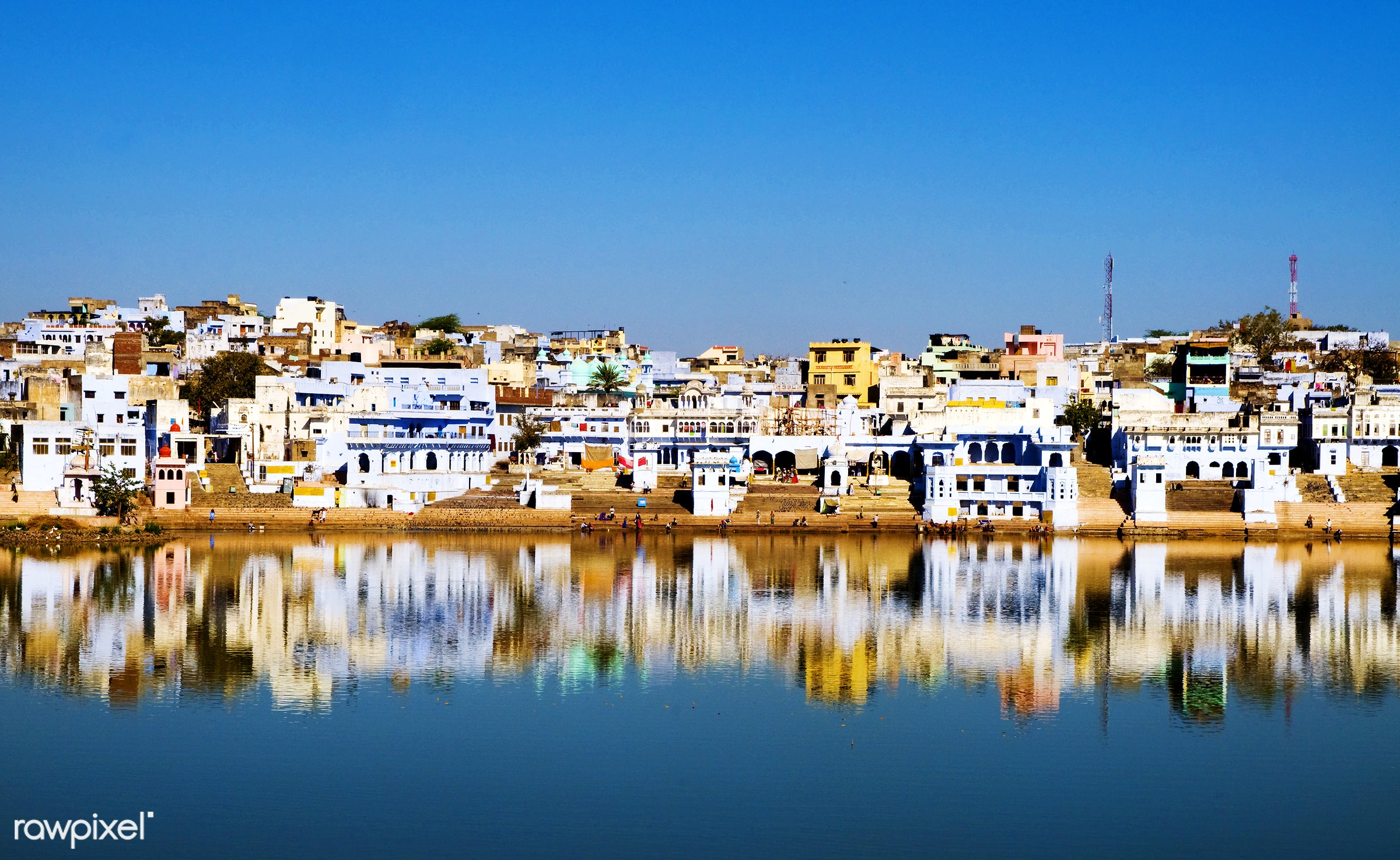 The holy Brahman town and lake in the early morning, Pushkar, Rajasthan, India - ancient, architecture, architecture and...