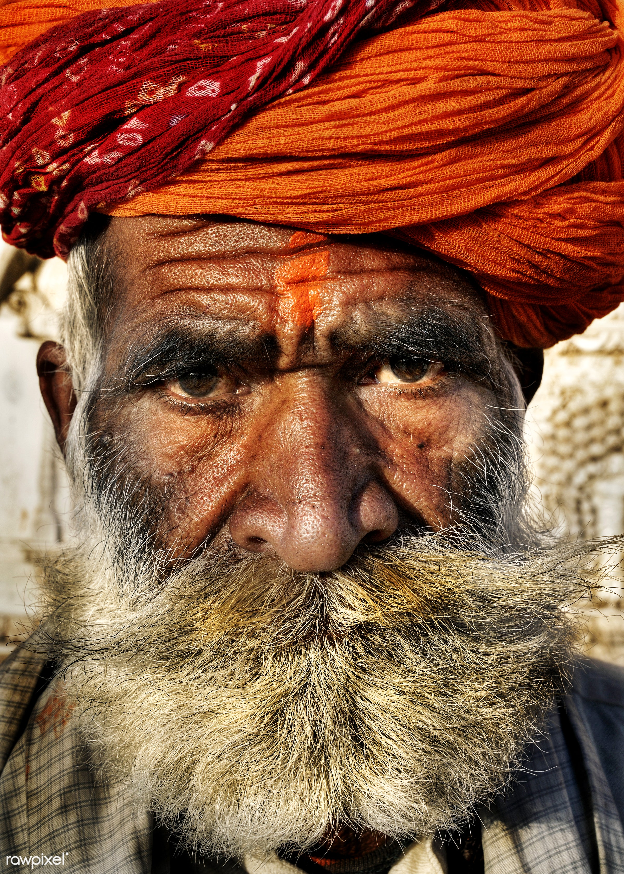 Senior Indian man looking at the camera. - carrying on the head, close-up, concepts and ideas, despair, facial hair, farmer...