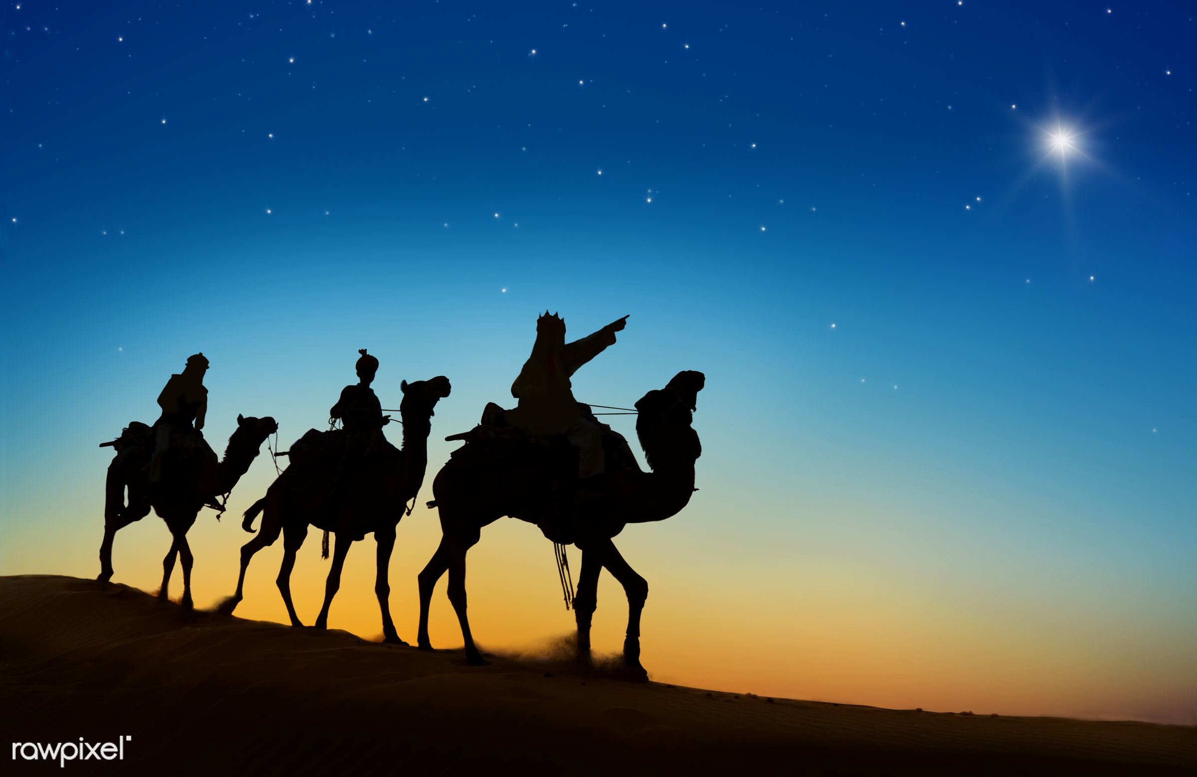 The three kings following the northern star - 3 kings, animal themes, asia, birth, camel, concepts and ideas, culture,...