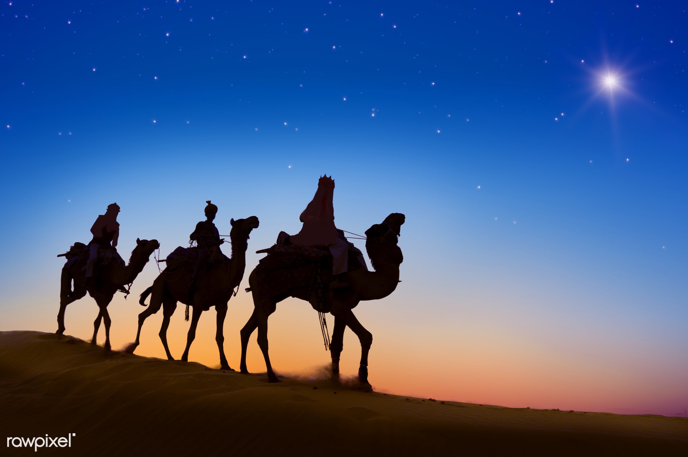 Three Wise Men - nativity, 3 wise men, back lit, bethlehem - israel, camel, caravan, concepts, desert, destination, dusk,...