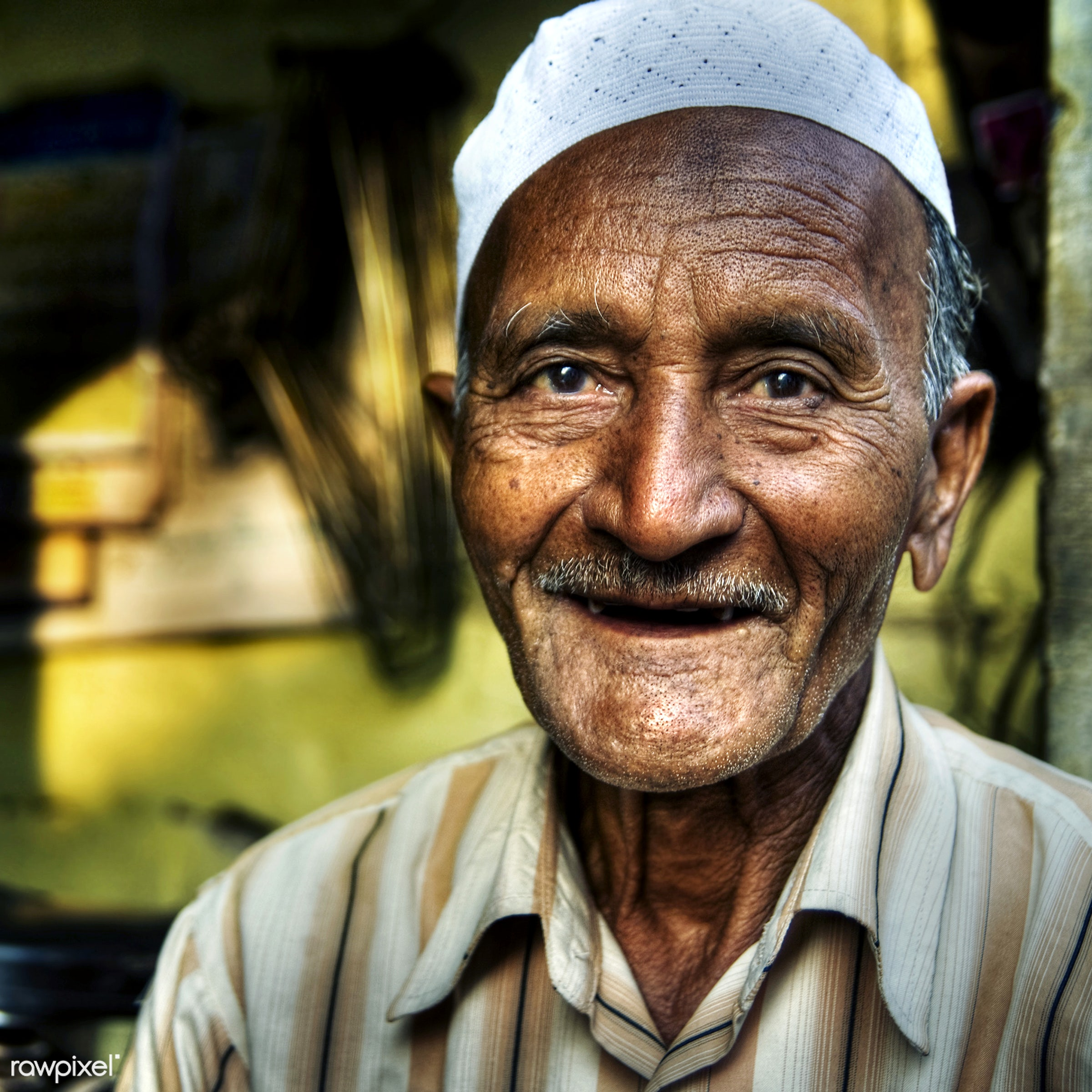 Happy senior Indian man - adult, asia, asian ethnicity, characters, cheerful, concepts and ideas, ethnic, exoticism, facial...