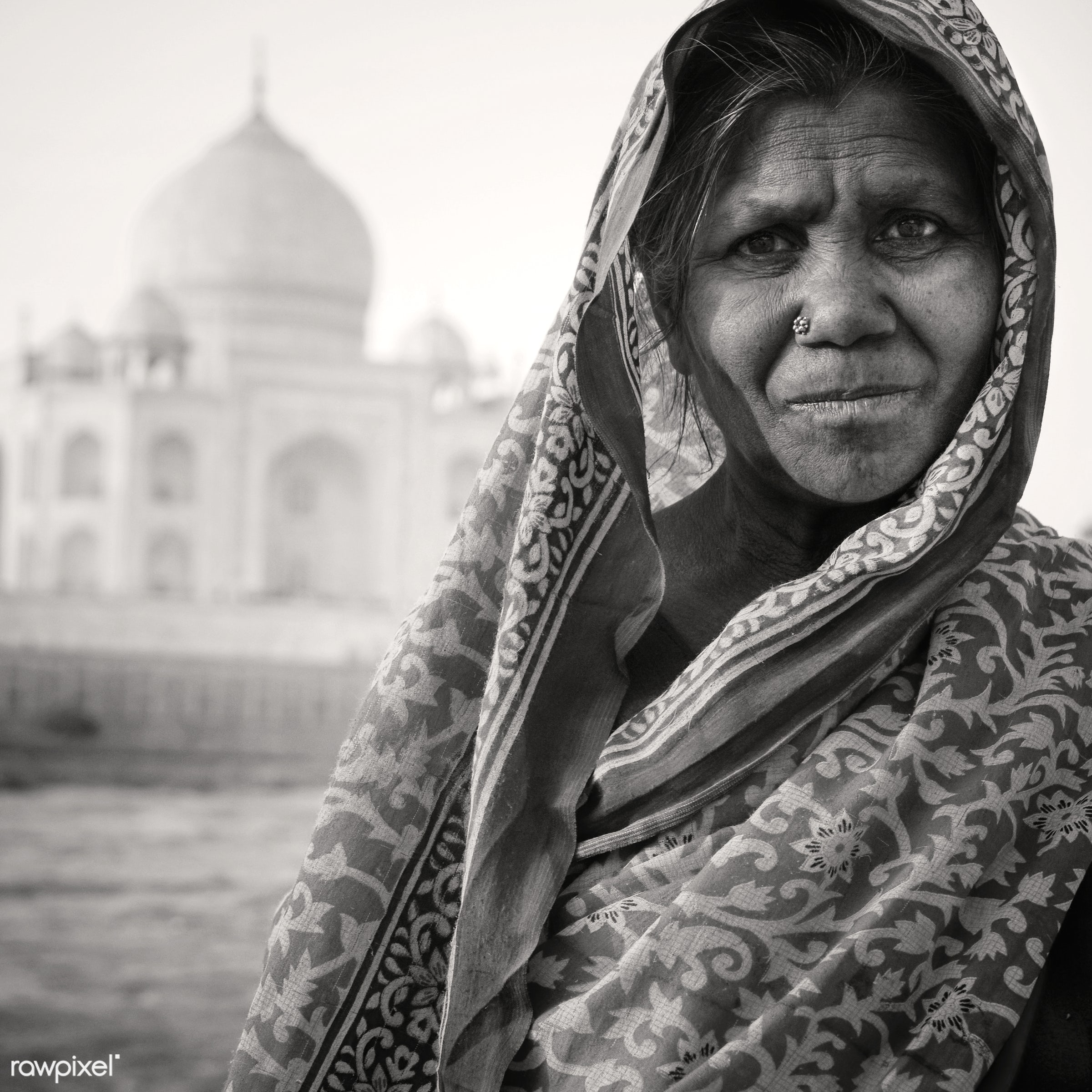 Indigenous Indian woman and The Taj Mahal as a background. - 7 wonders, architectural styles, architecture, architecture and...