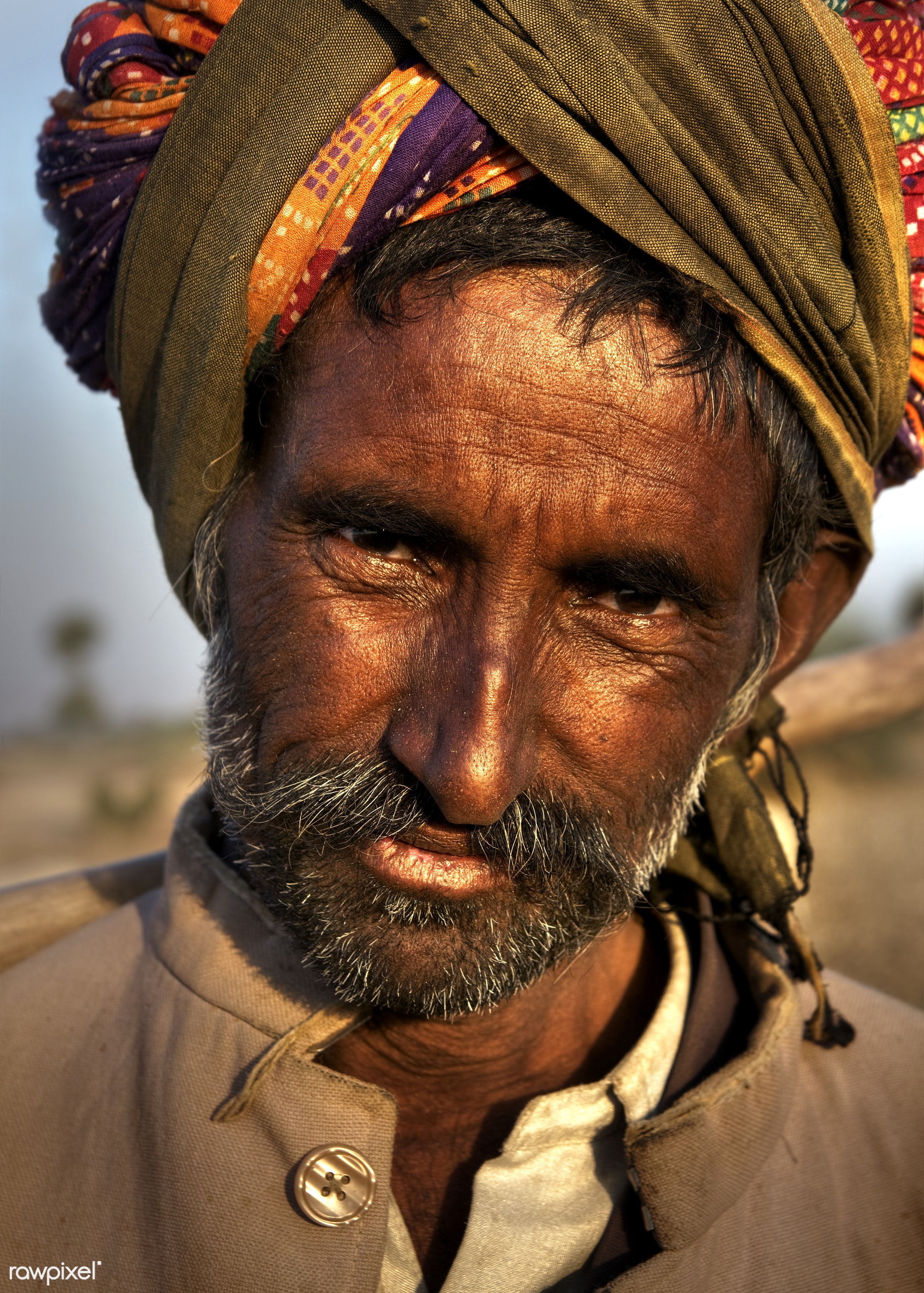 Indian man herding the sheep - india, agriculture, asia, characters, day, dirty, ethnic, farmer, fine art portrait, heat,...