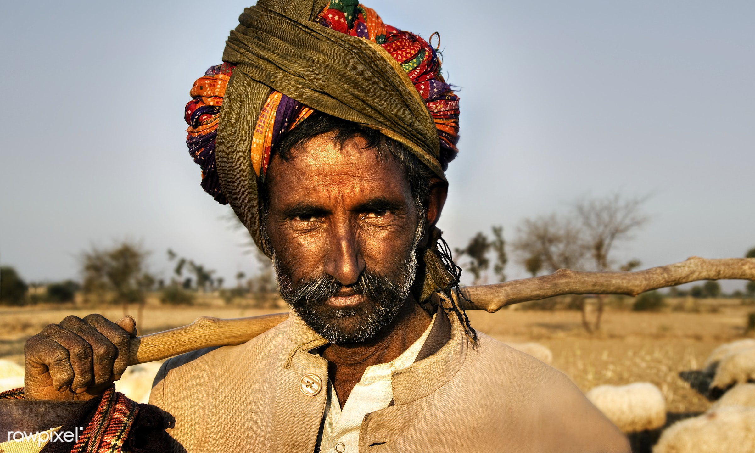 Portrait of an Indian man - agriculture, asia, characters, day, dirty, ethnic, facial hair, farmer, fine art portrait, heat...