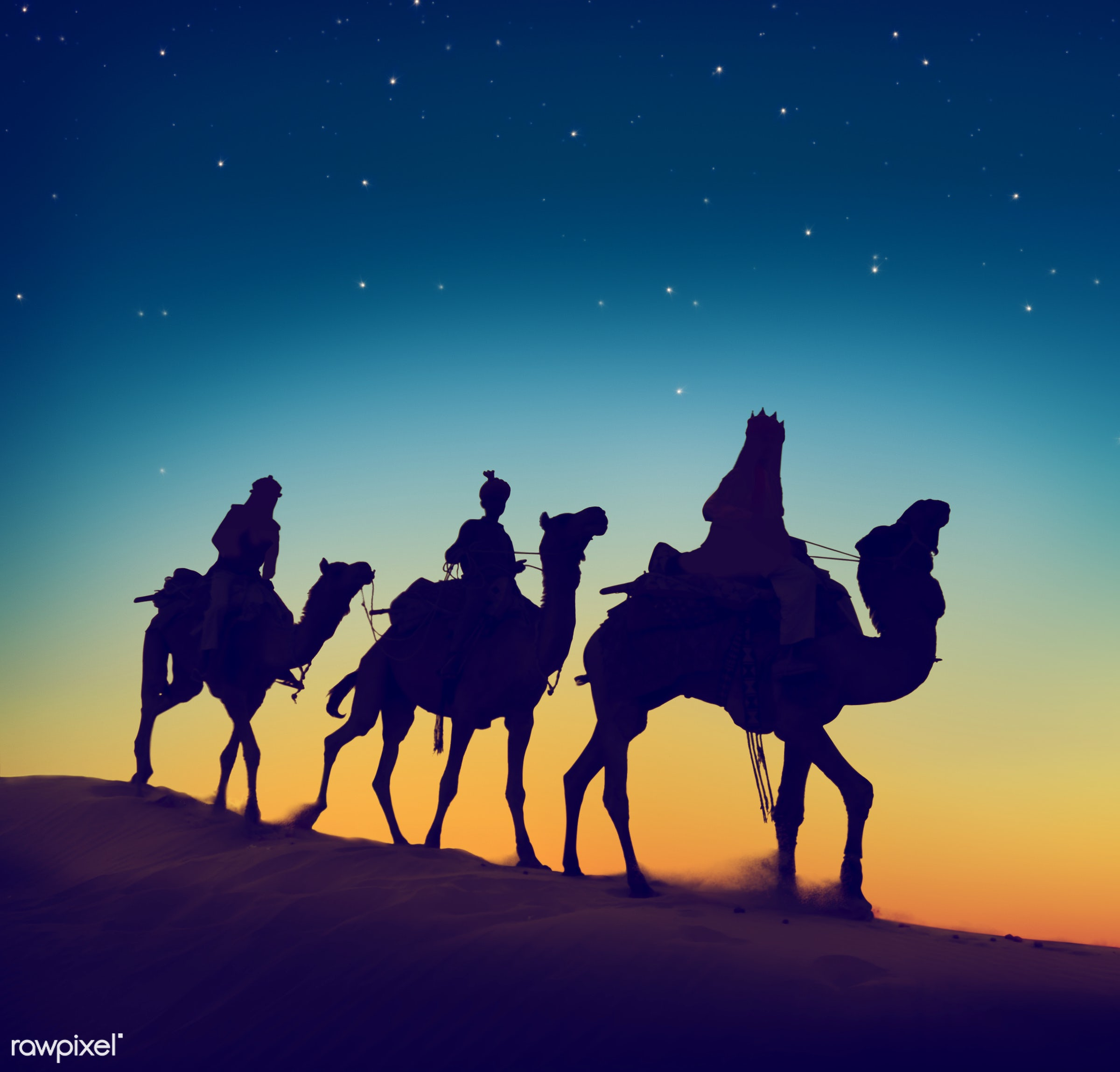The Three Wise Men - nativity, 3 wise men, back lit, bethlehem - israel, camel, caravan, concepts, desert, destination, dusk...