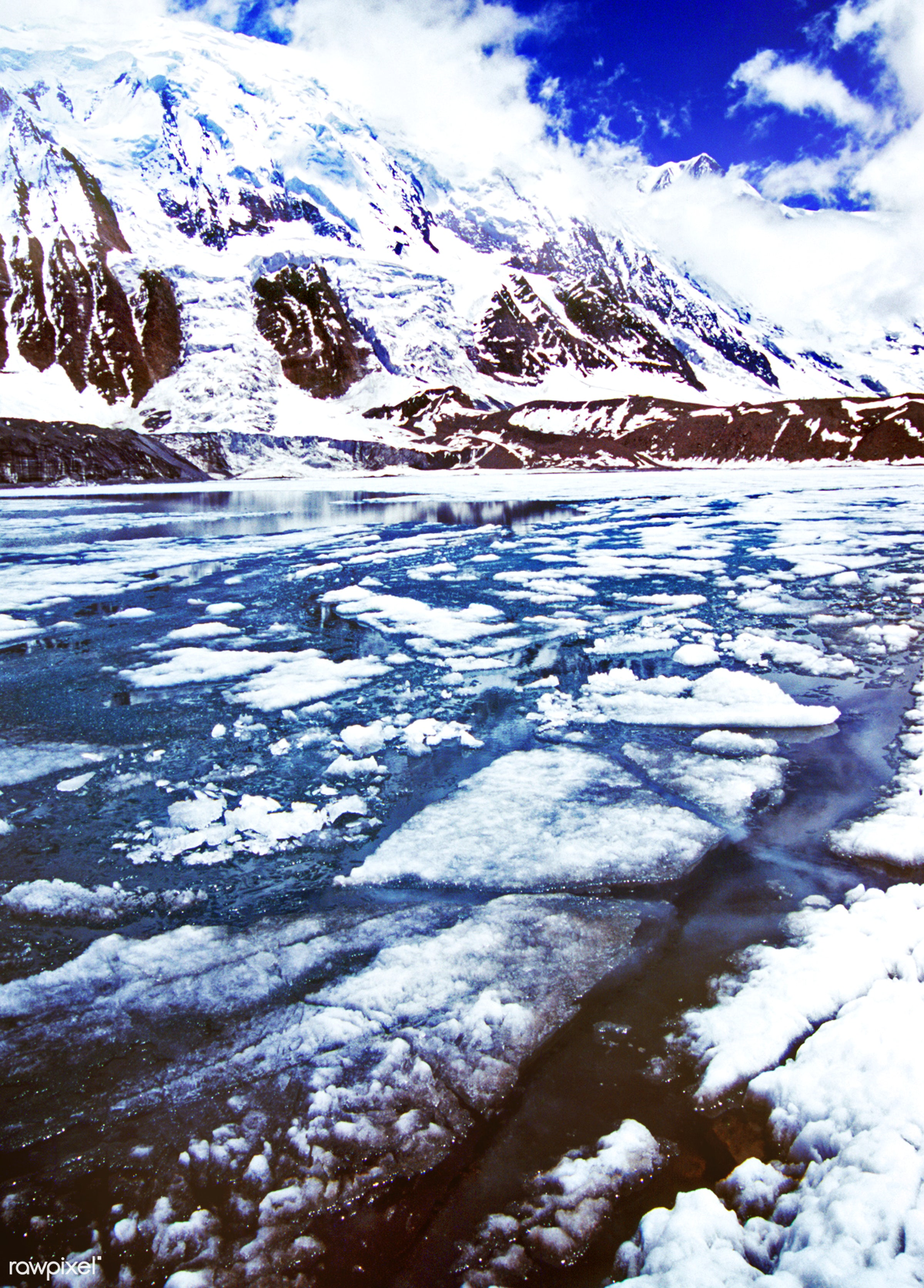 Frozen Lake Tilicho in the Himalayas - season, adventure, aspirations, awe, blue, bove, bright, cloud, cloudscape, cold,...