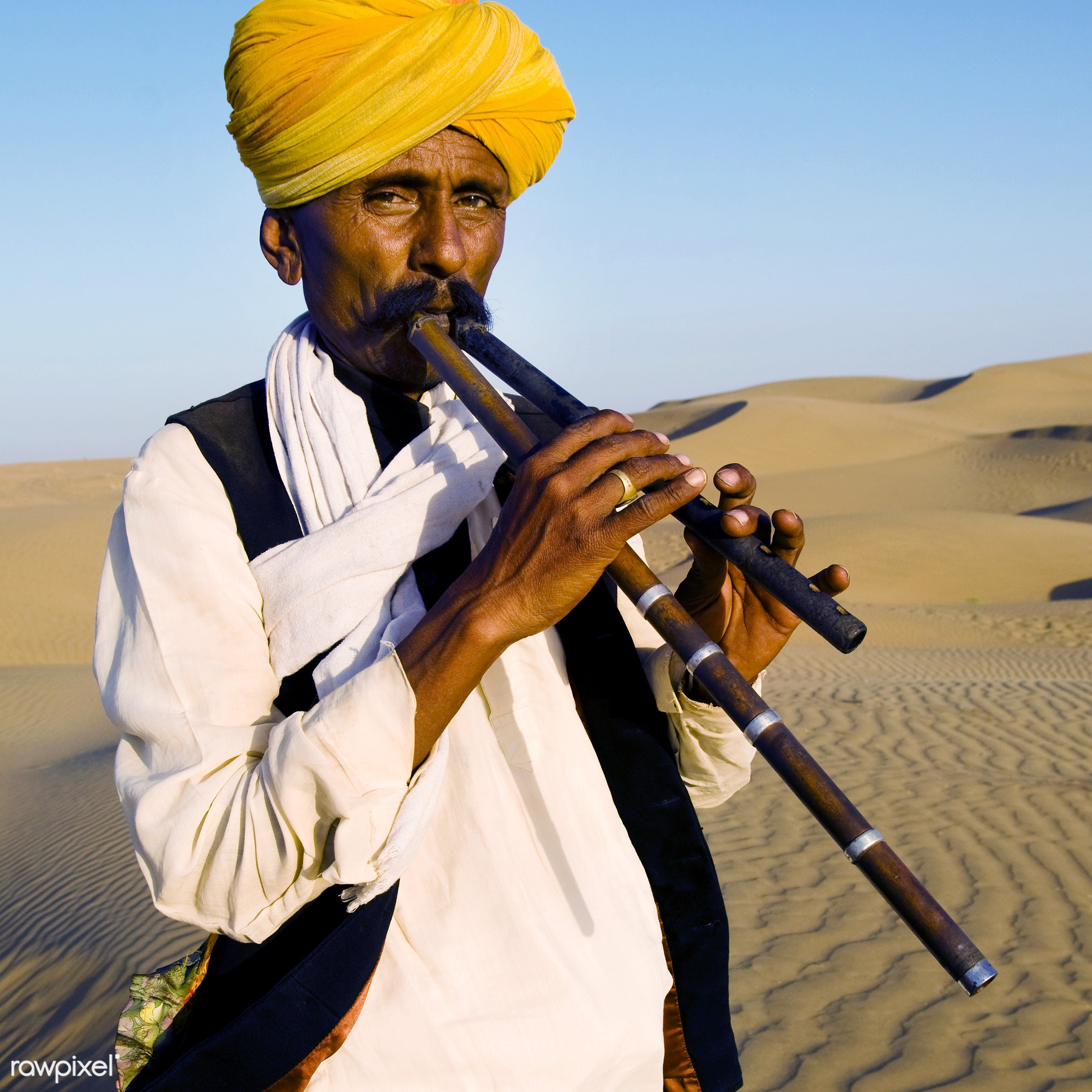Portrait of an Indian man - music, asia, culture, day, desert, exoticism, heat, india, indian, indian culture, indian...