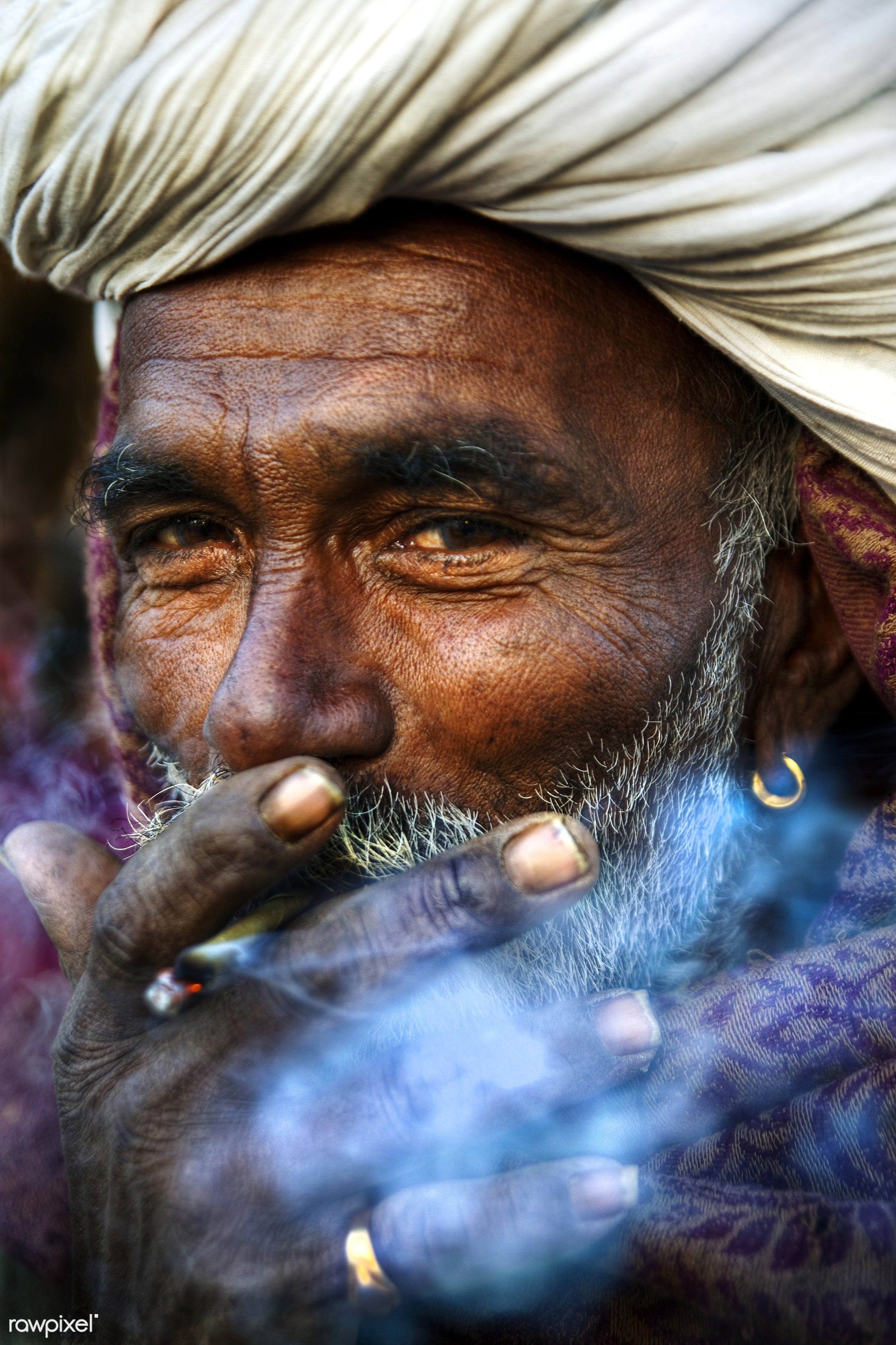 Indian man smoking happily - adult, asia, beard, brahmin, casual, characters, fine art portrait, golden ring, human face,...