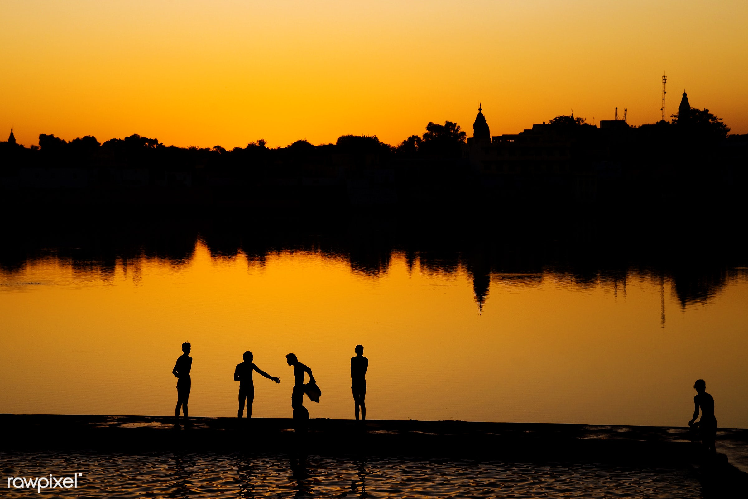 Indian boys washing up by the lake - india, naked, asia, asian culture, asian ethnicity, boys, copy space, exotic, friends,...
