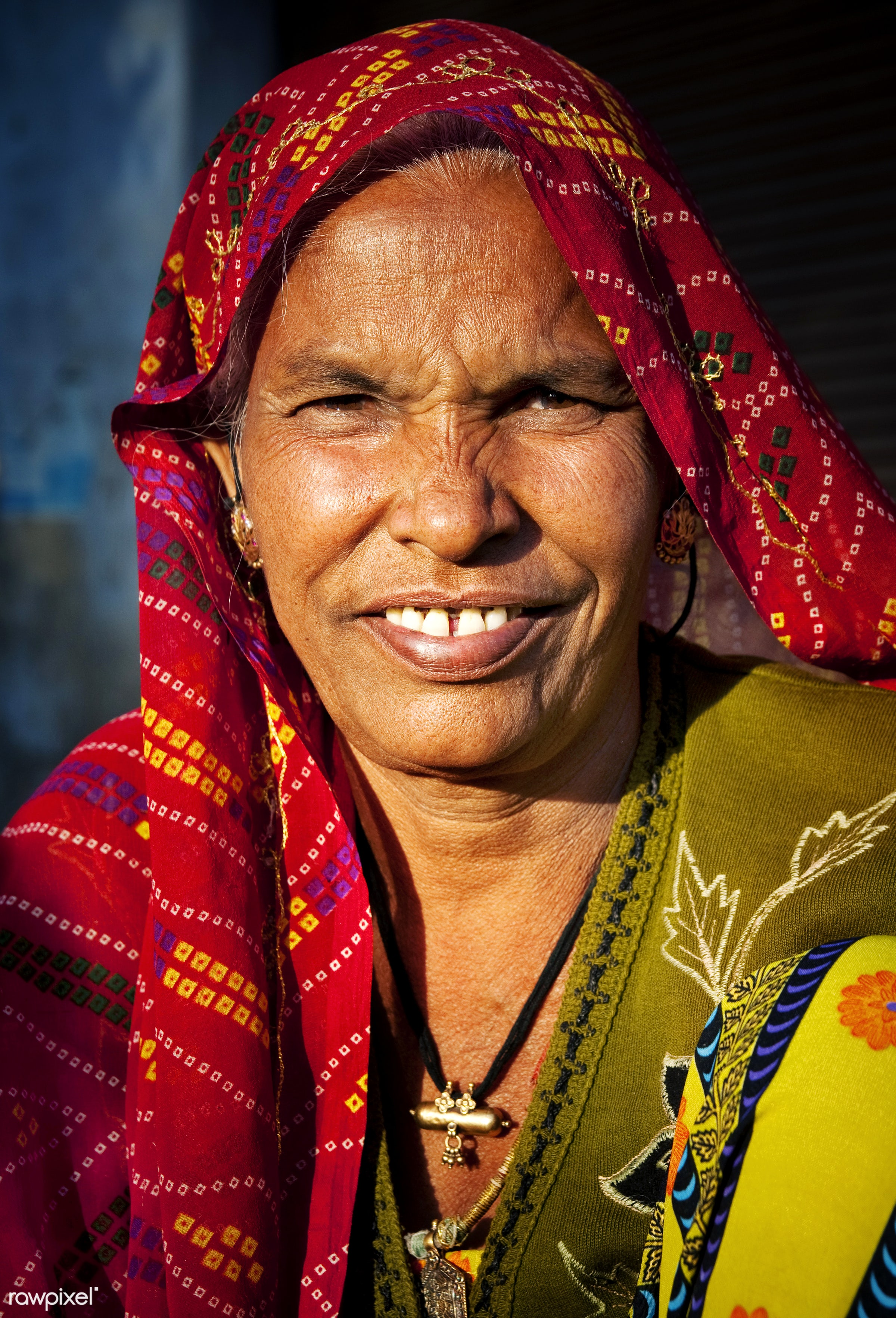 Portrait of a smiling Indian woman - lifestyles, adult, asia, characters, cheerful, dress, ethnic, expressing positivity,...