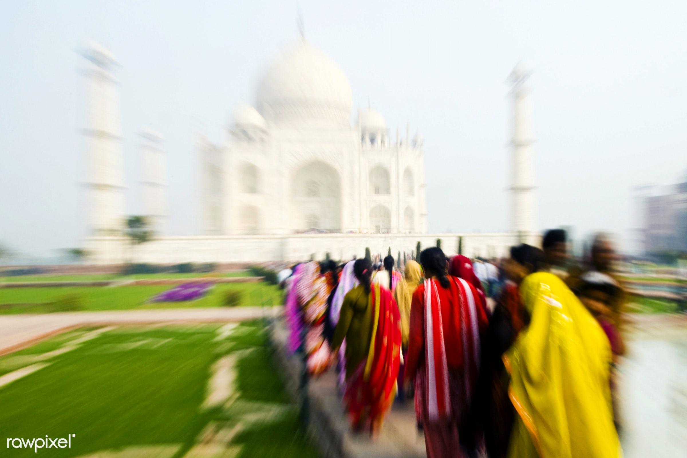 People walking to the Taj Mahal - 7 wonders, architectural styles, architecture, architecture and buildings, asia, blurred...