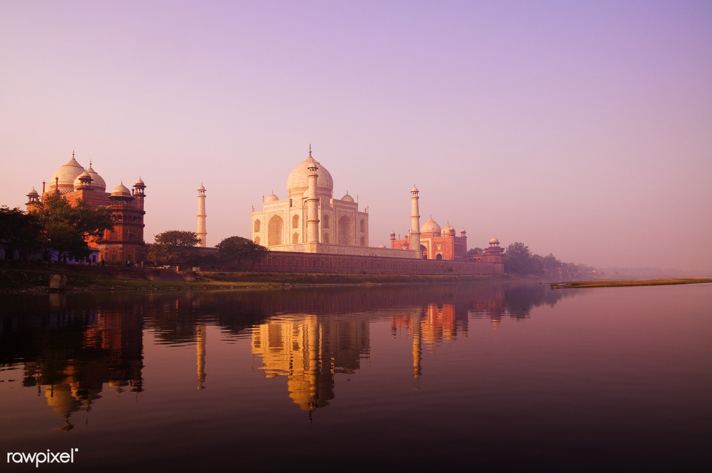 Beautiful scenery of the Taj Mahal and a body of water. - famous place, 7 wonders, architectural styles, architecture,...