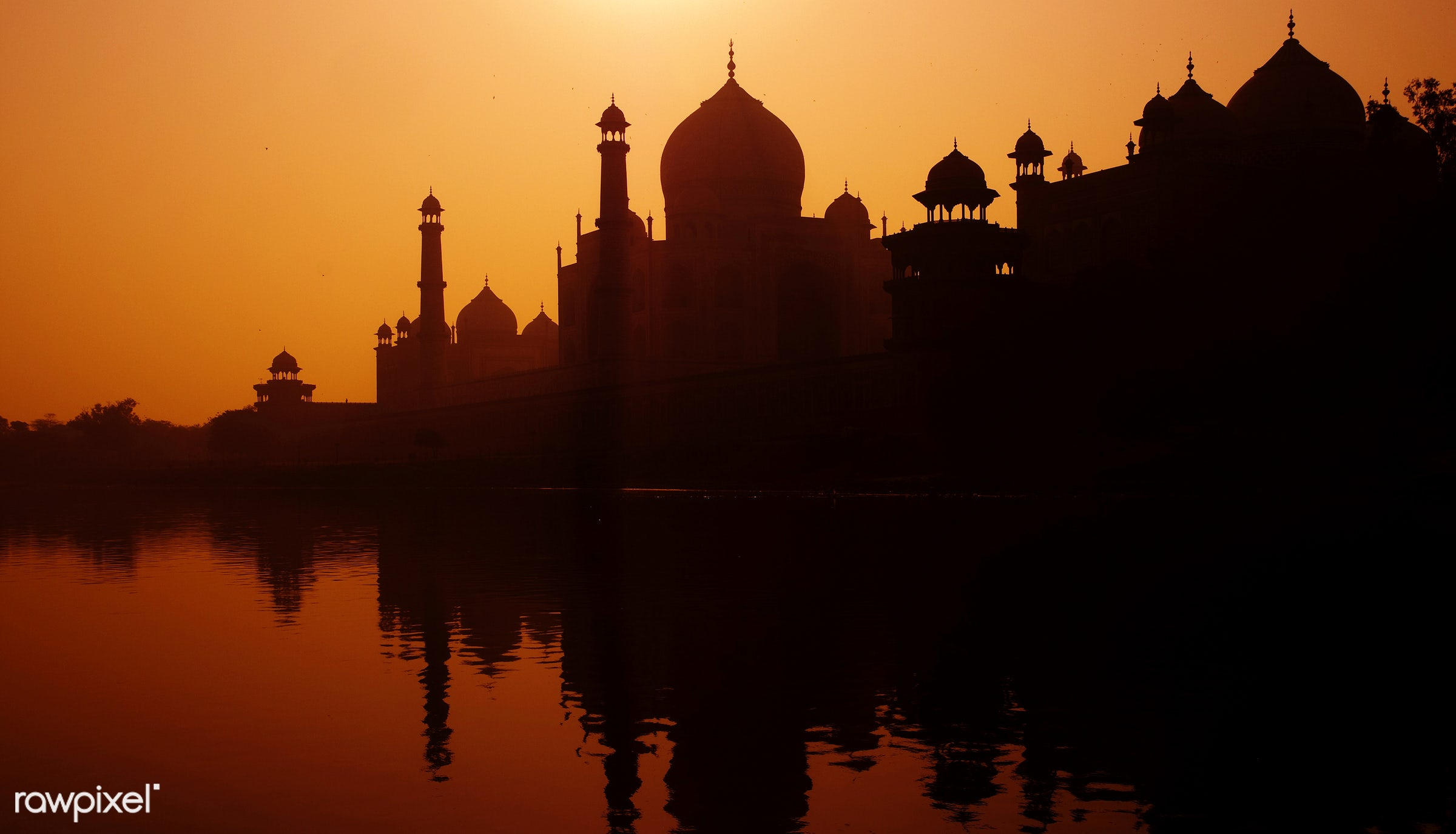 Sunset silhouette of a grand Taj Mahal. - sunset, 7 wonders, architectural styles, architecture, architecture and buildings...