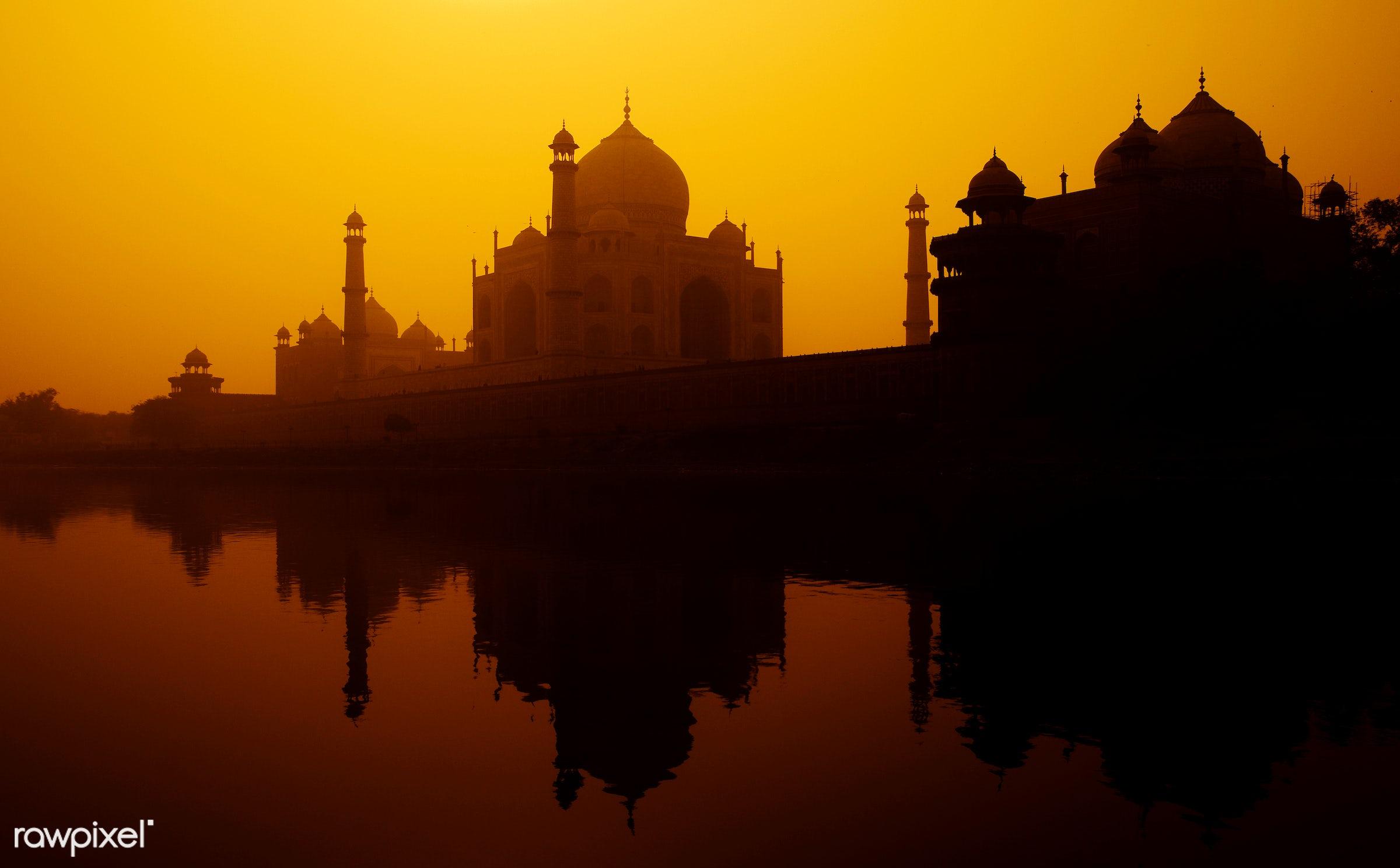 Sunset silhouette of a grand Taj Mahal - 7 wonders, architectural styles, architecture, architecture and buildings, asia,...