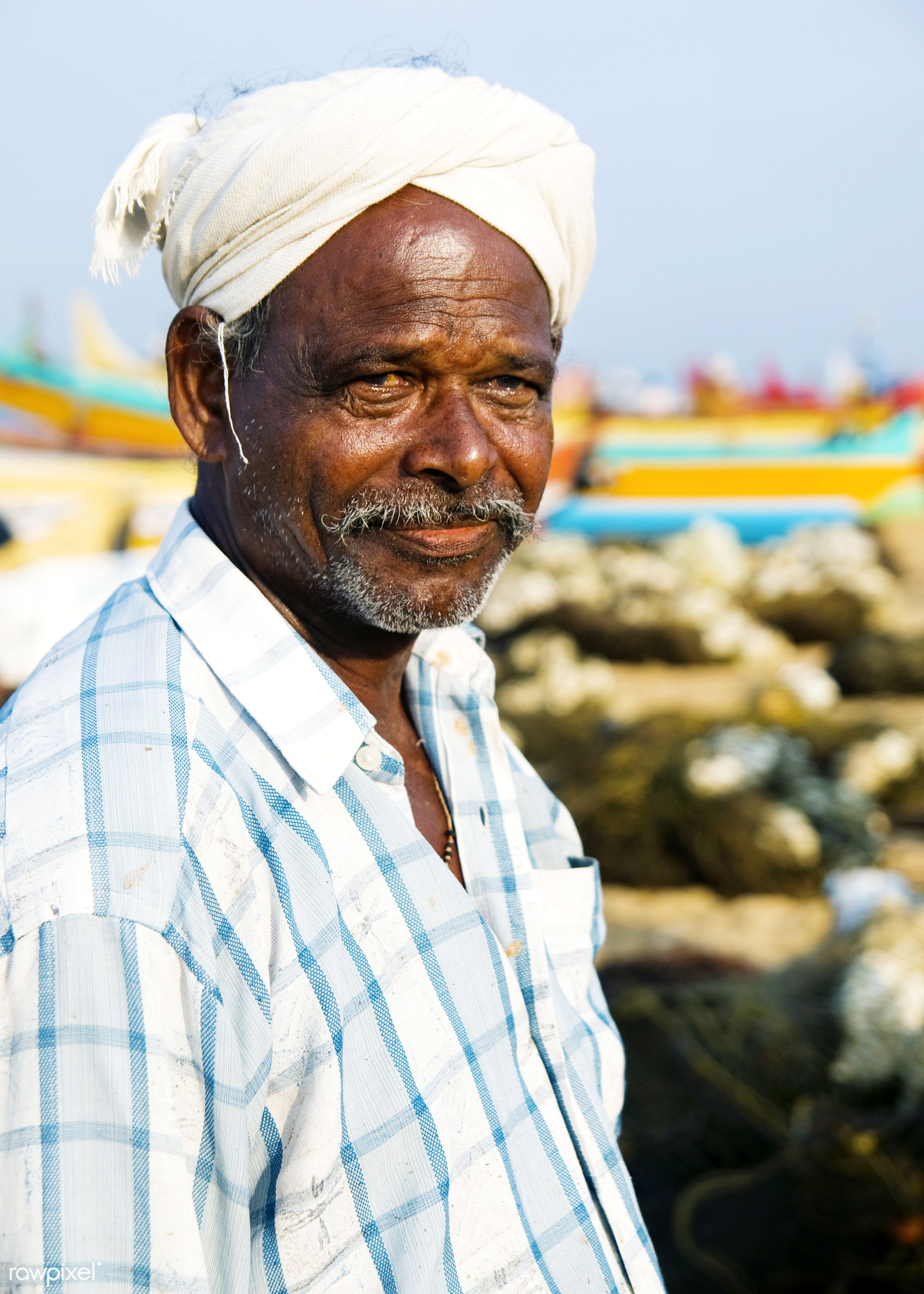 Portrait of an Indian man - asia, asian and indian ethnicities, asian ethnicity, beach, characters, close-up, concepts,...