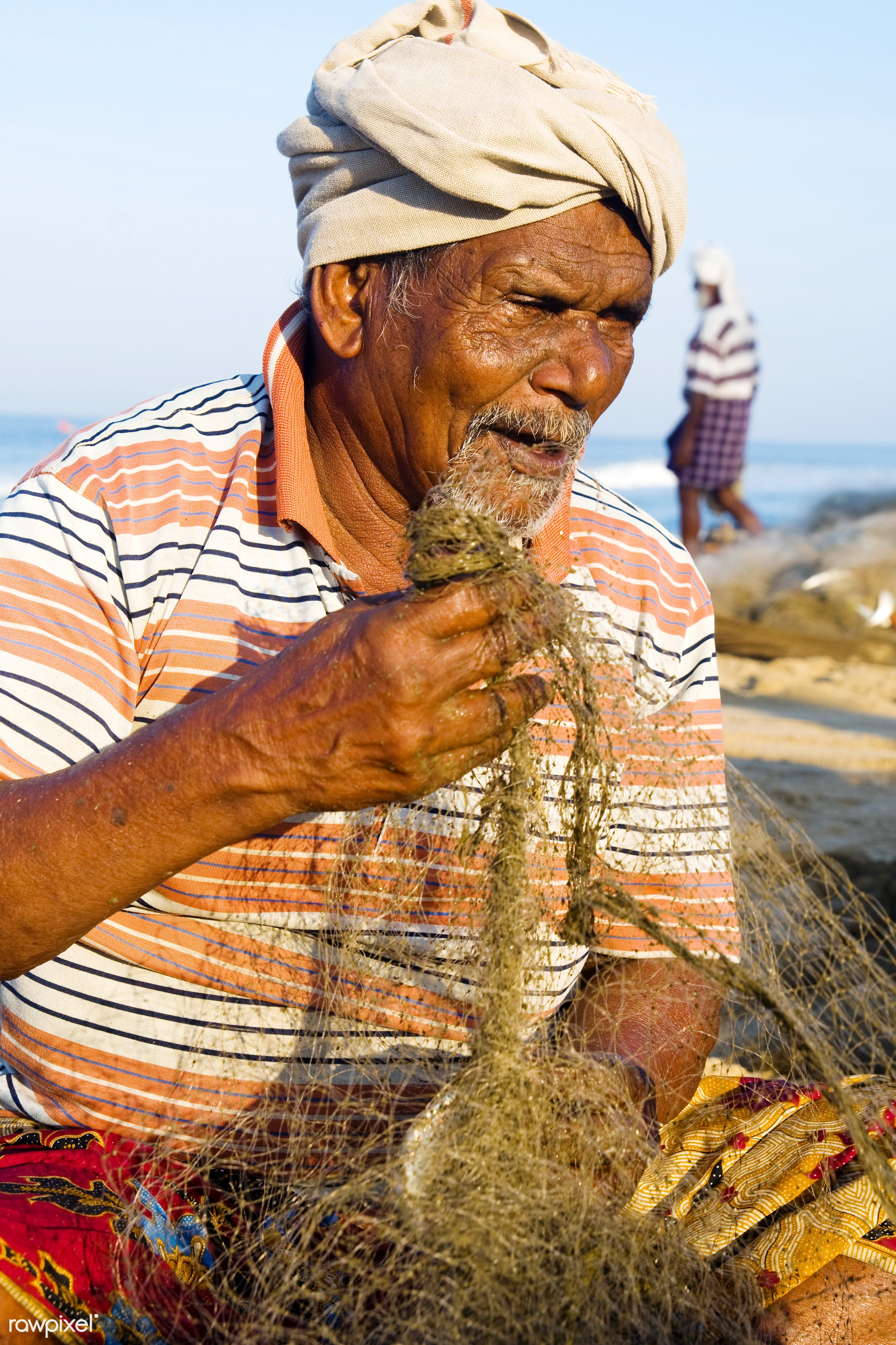 Portrait of an Indian fisherman - asia, asian and indian ethnicities, asian ethnicity, beach, characters, close-up, concepts...