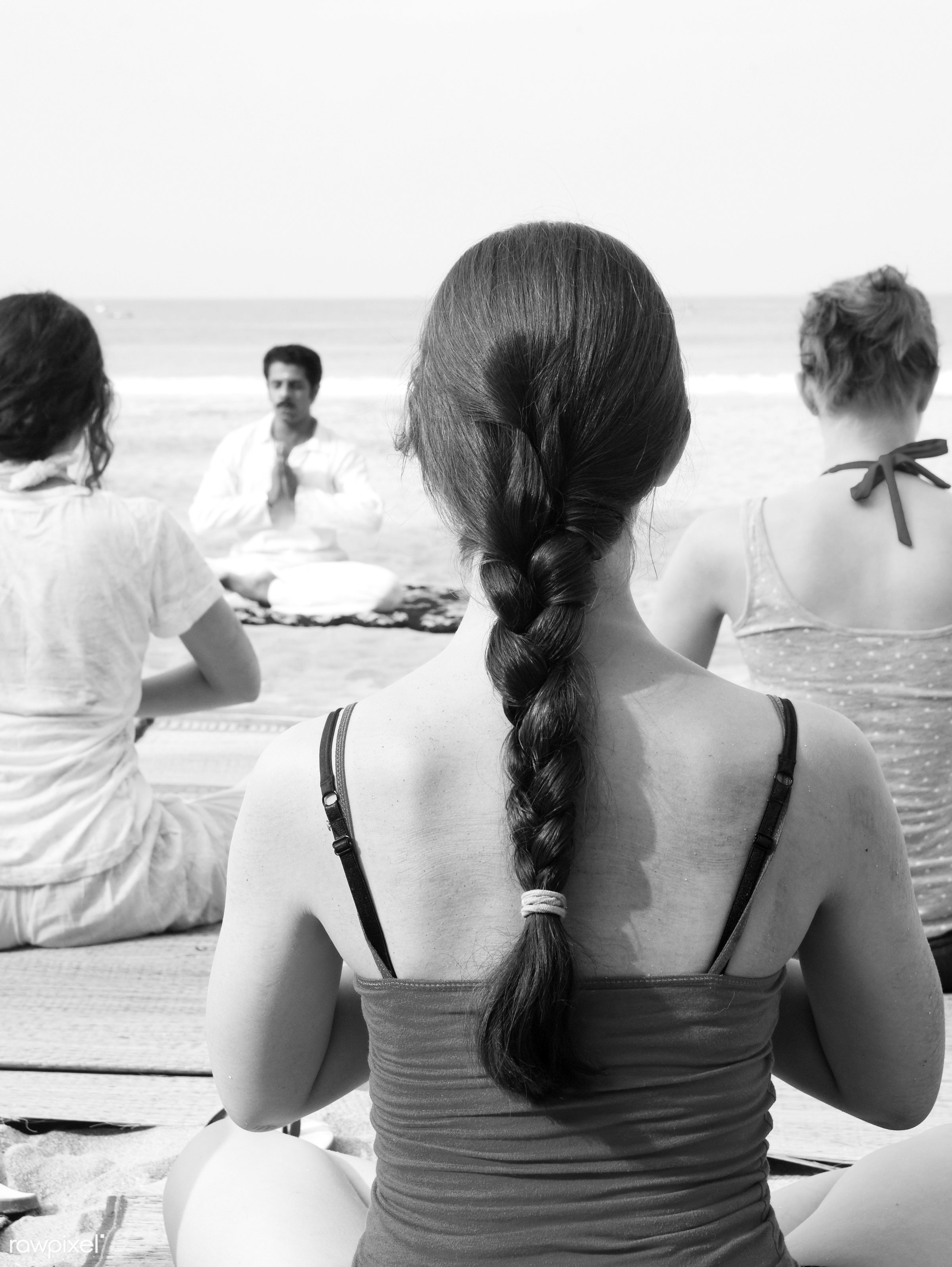 Yoga instructor and his students by the beach. - activity, adult, beach, beauty in nature, body, body care, casual, class,...