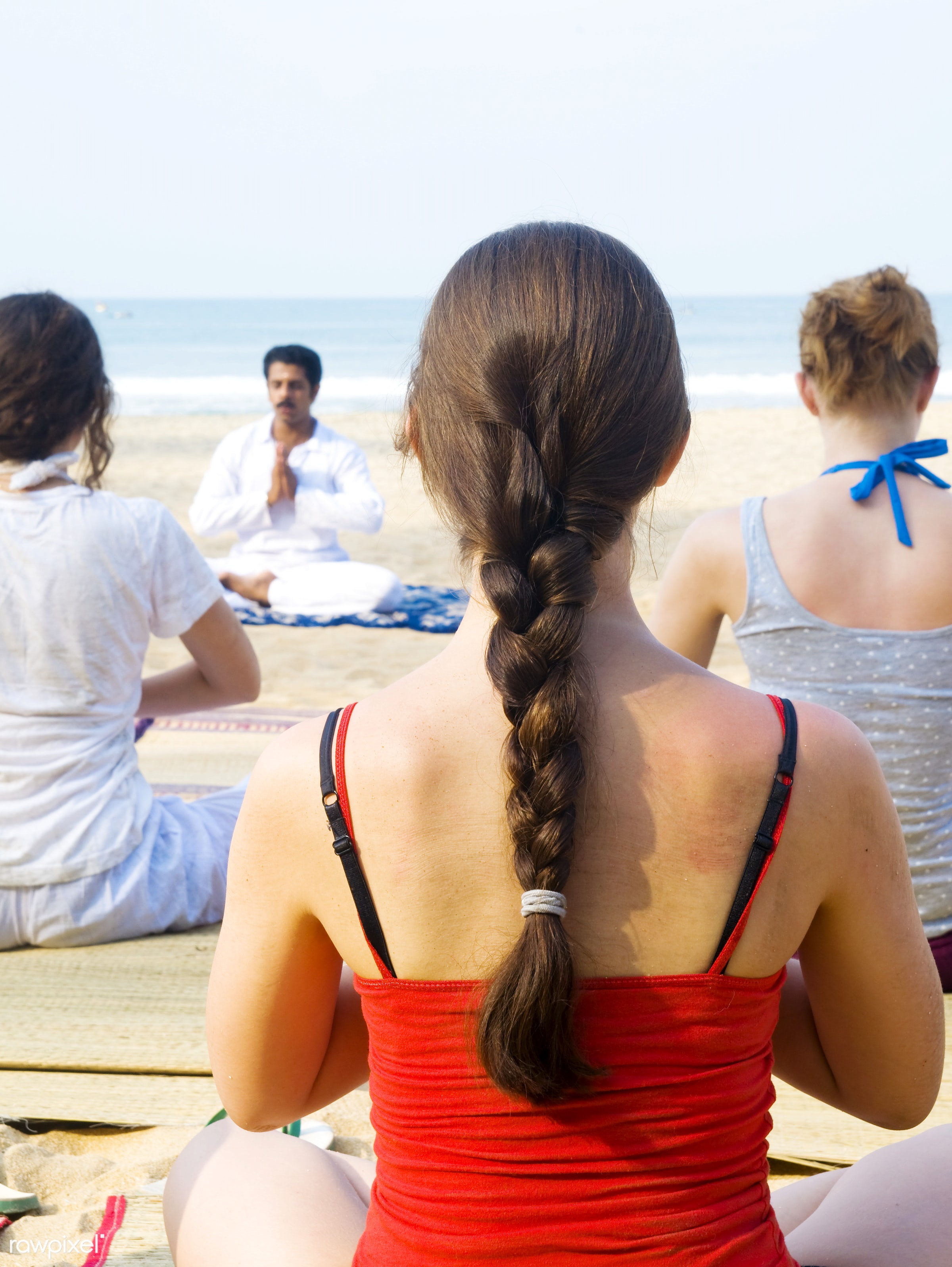 Yoga class on a beach in India - activity, adult, beach, beauty in nature, body, body care, casual, class, coastline,...