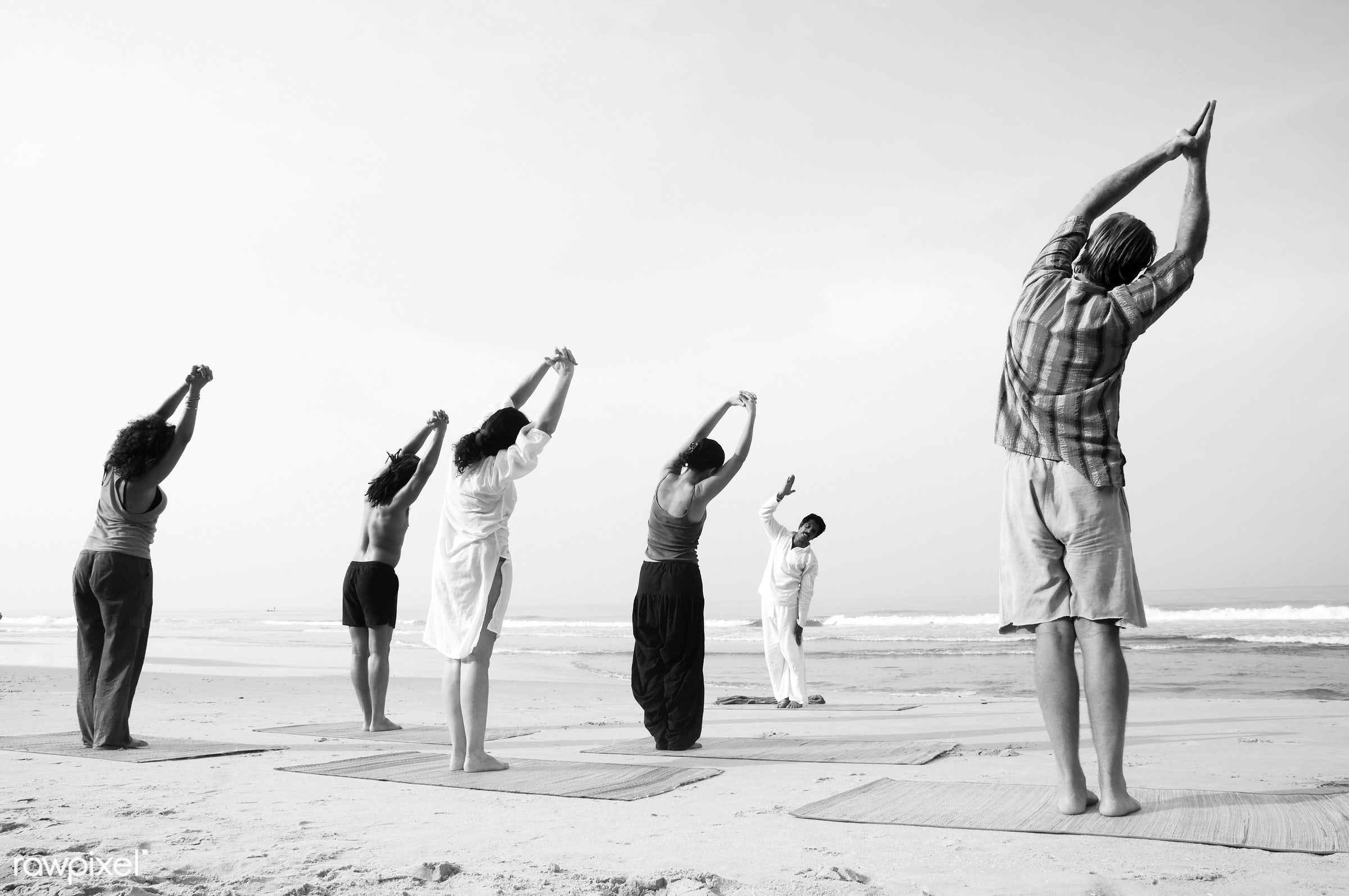 Yoga class by the beach. - activity, adult, arms raised, beach, beauty in nature, body, body care, casual, class, coastline...