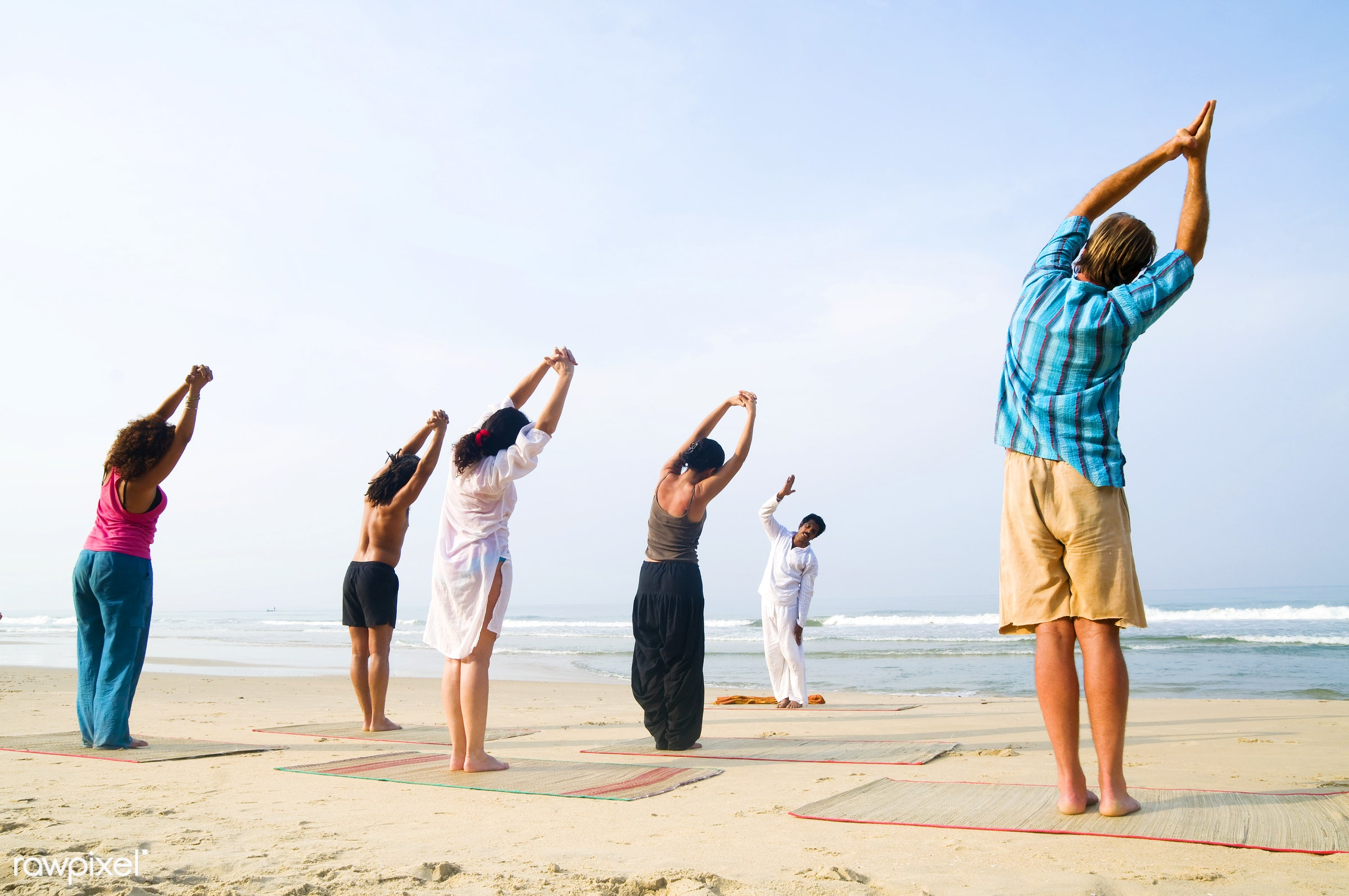 Yoga class at the beach - activity, adult, arms raised, beach, beauty in nature, body, body care, casual, class, coastline,...