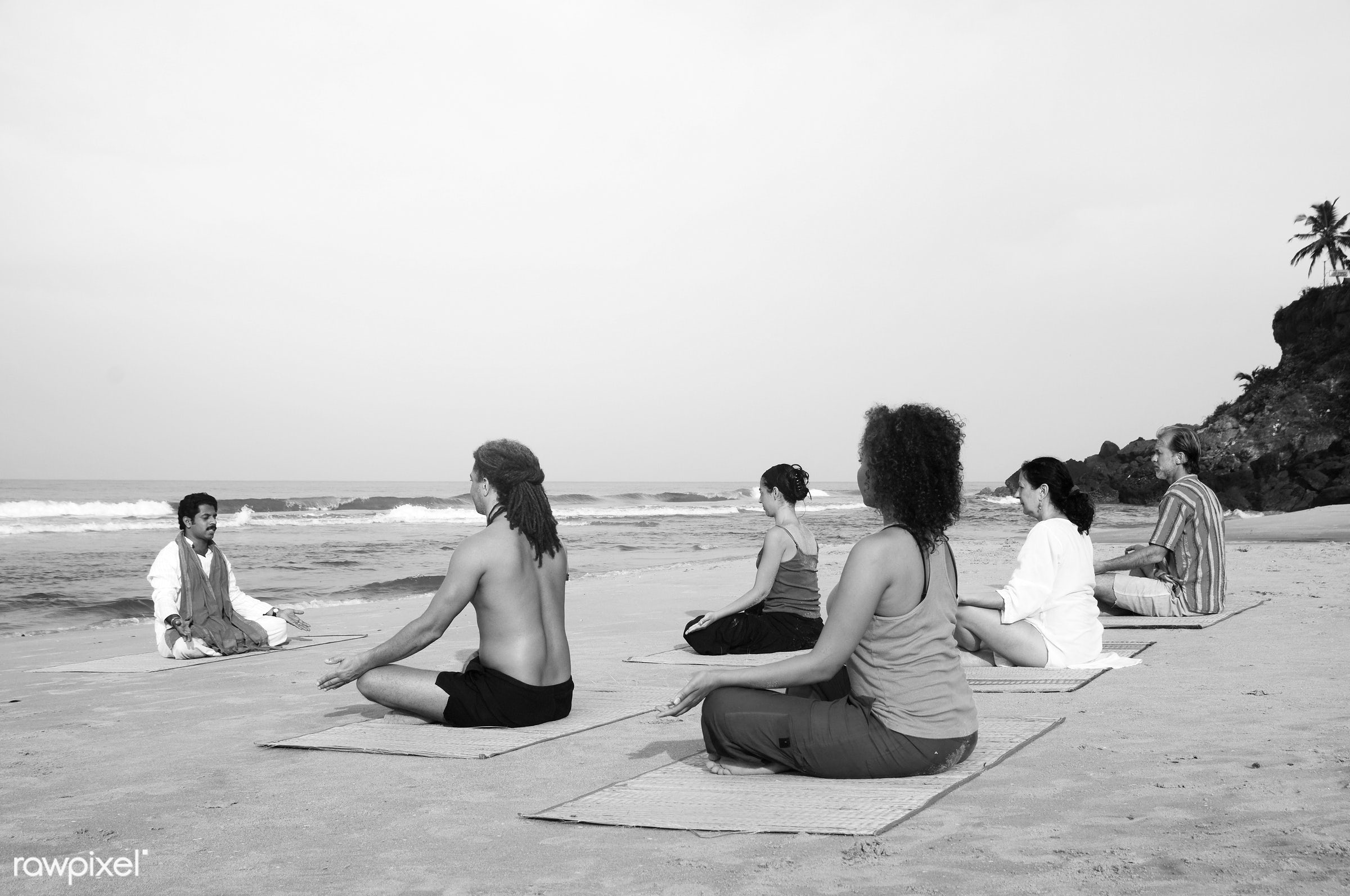 Yoga class by the beach - activity, adult, arms raised, beach, beauty in nature, body, body care, casual, class, coastline,...