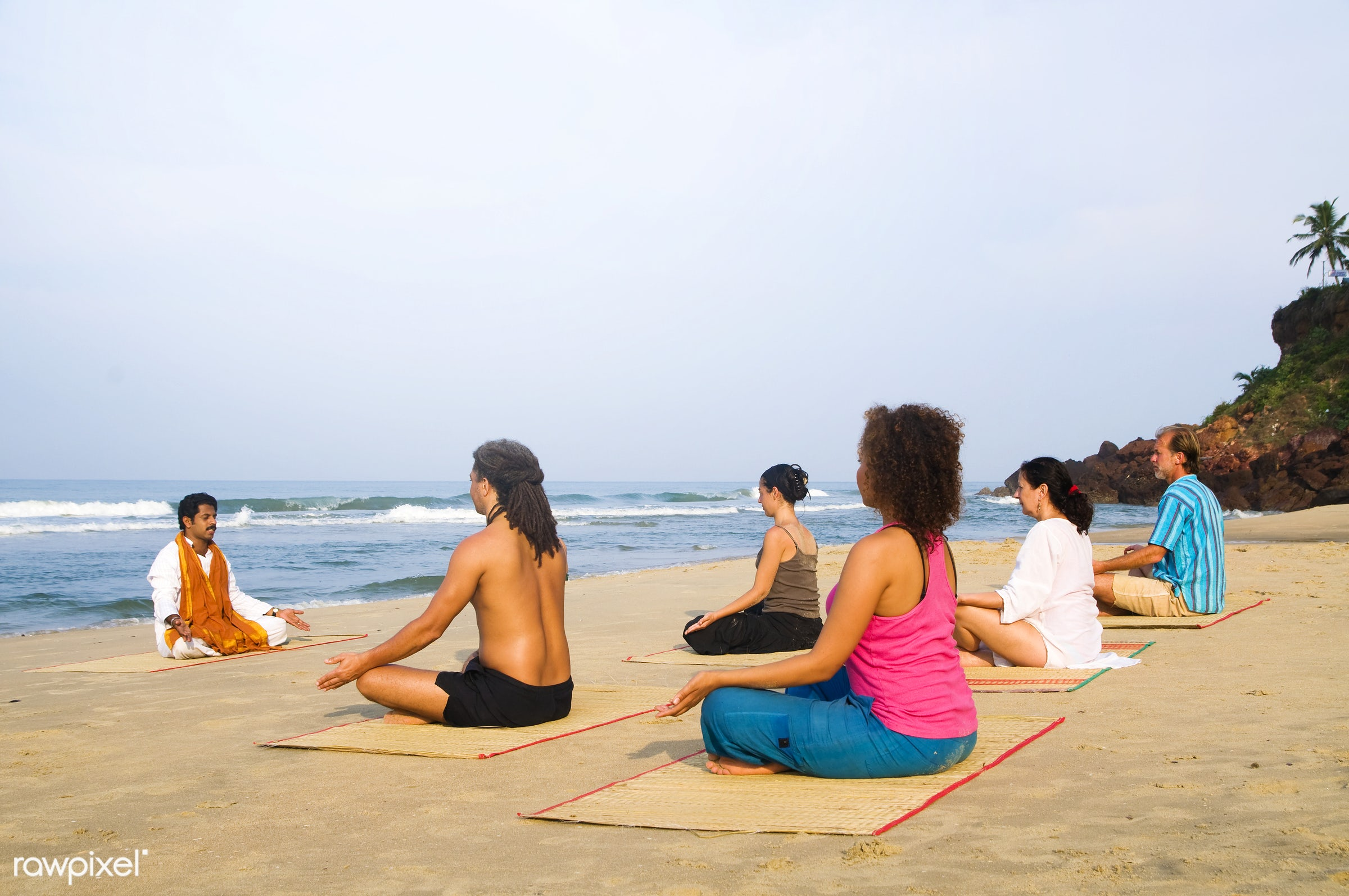 Yoga class by the beach - yoga, sea, body, healthy, water, activity, adult, arms raised, beach, beauty in nature, body care...