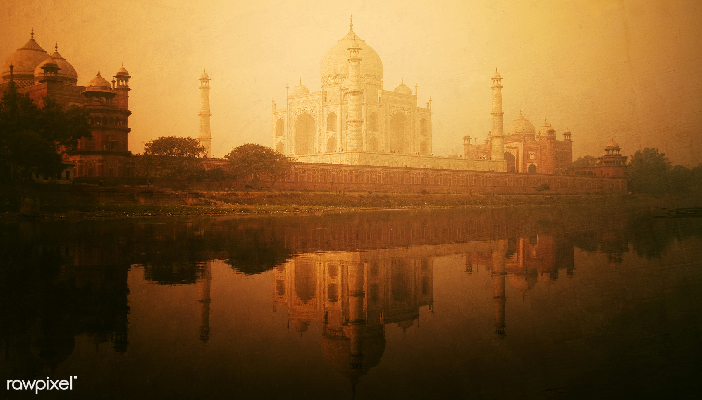 Golden textured picture of the Taj Mahal - famous place, india, international landmark, 7 wonders, architectural styles,...