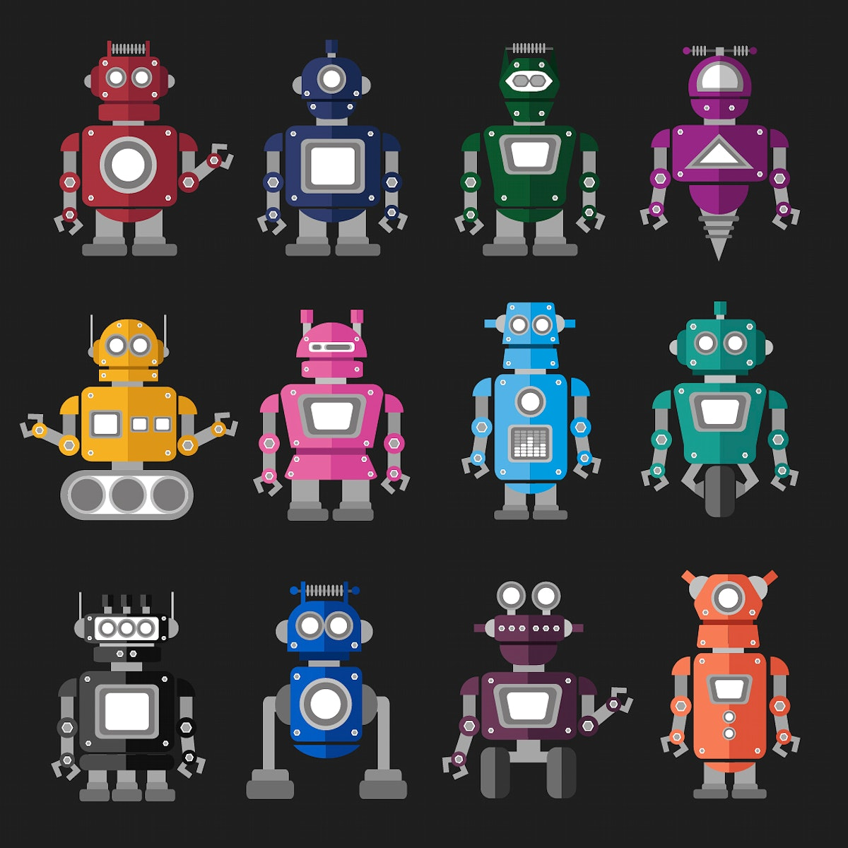 Collection set of colorful robot graphic illustration on black background