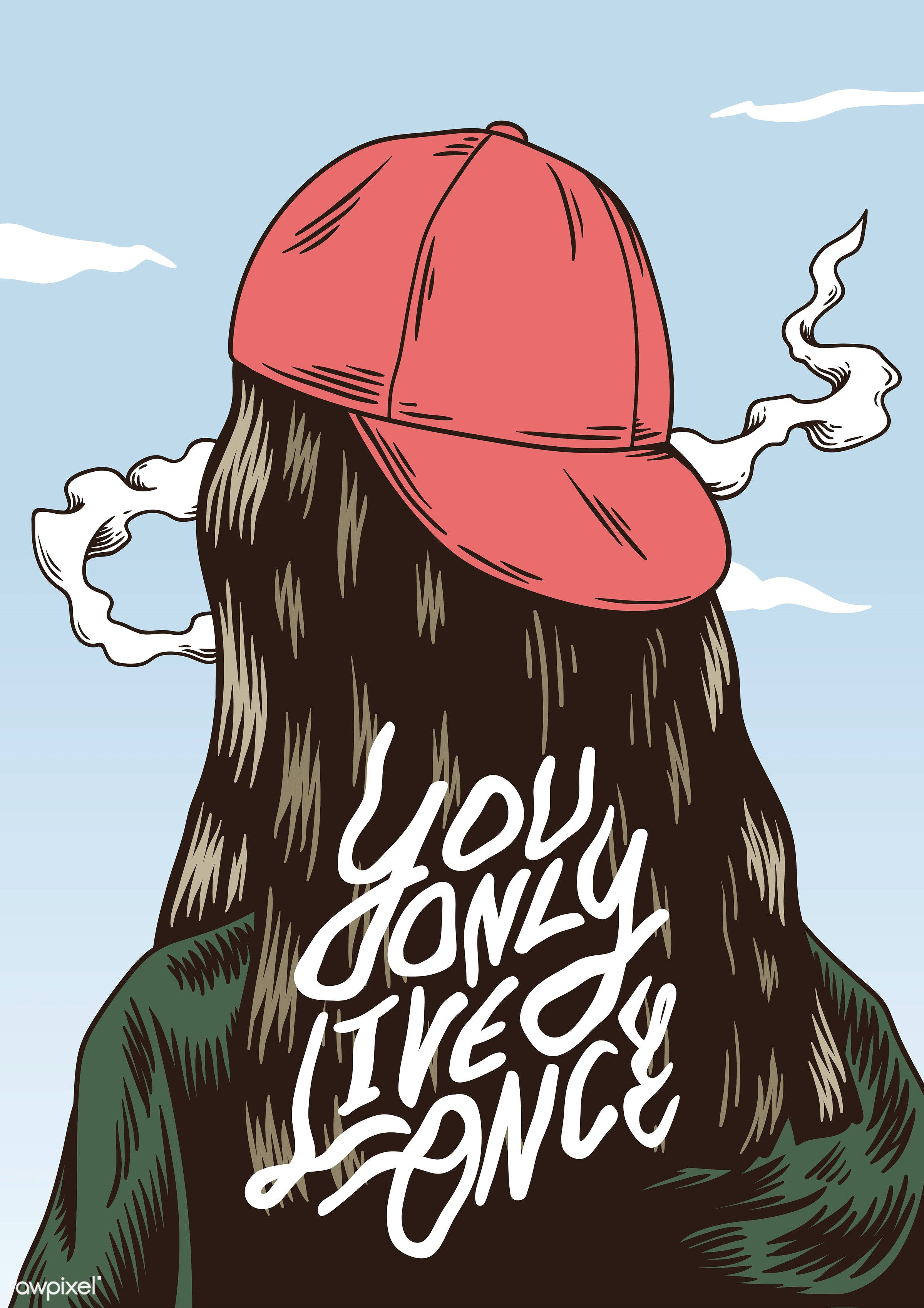 You only live once quote on the back of a girl - artwork, decoration, drawing, graphic, head, icon, illustration,...