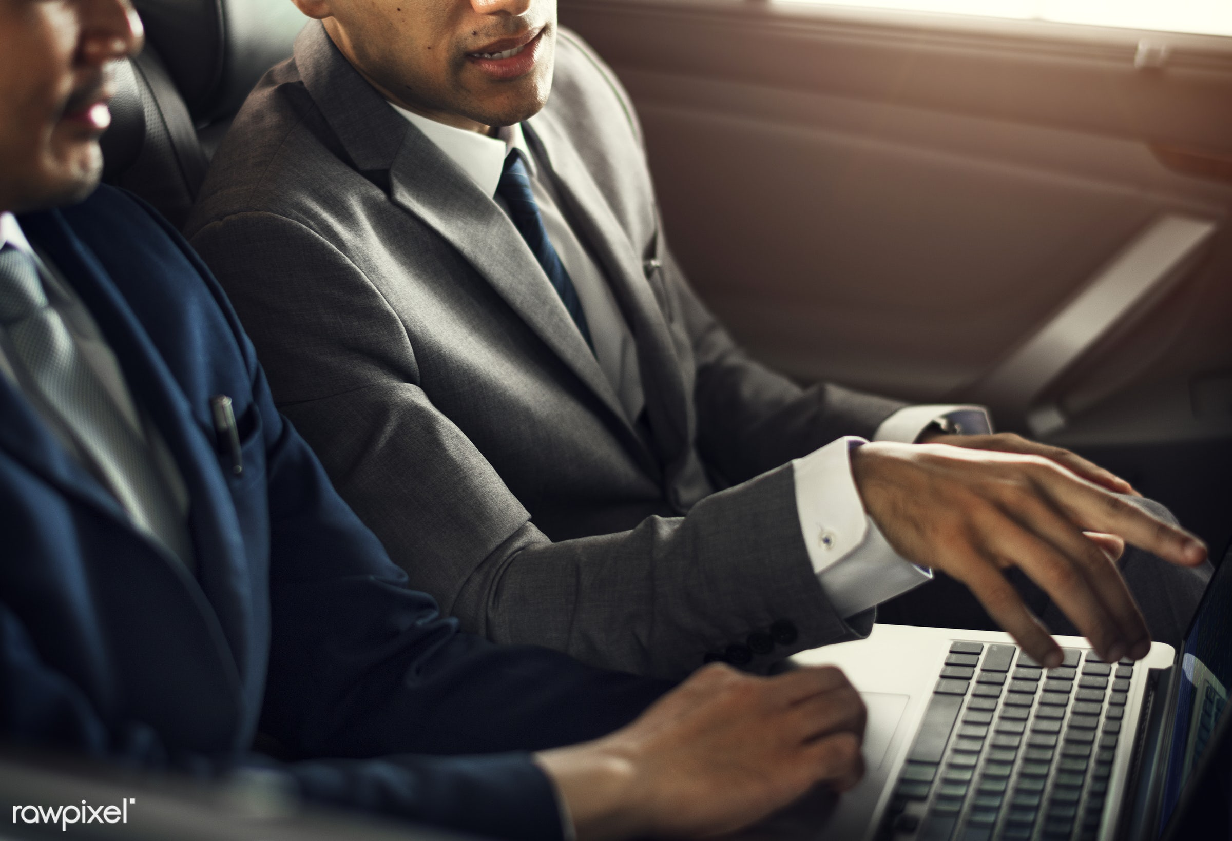 Business Men Use Laptop Car - summary, person, technology, show, transportation, people, friends, seat, white collar workers...